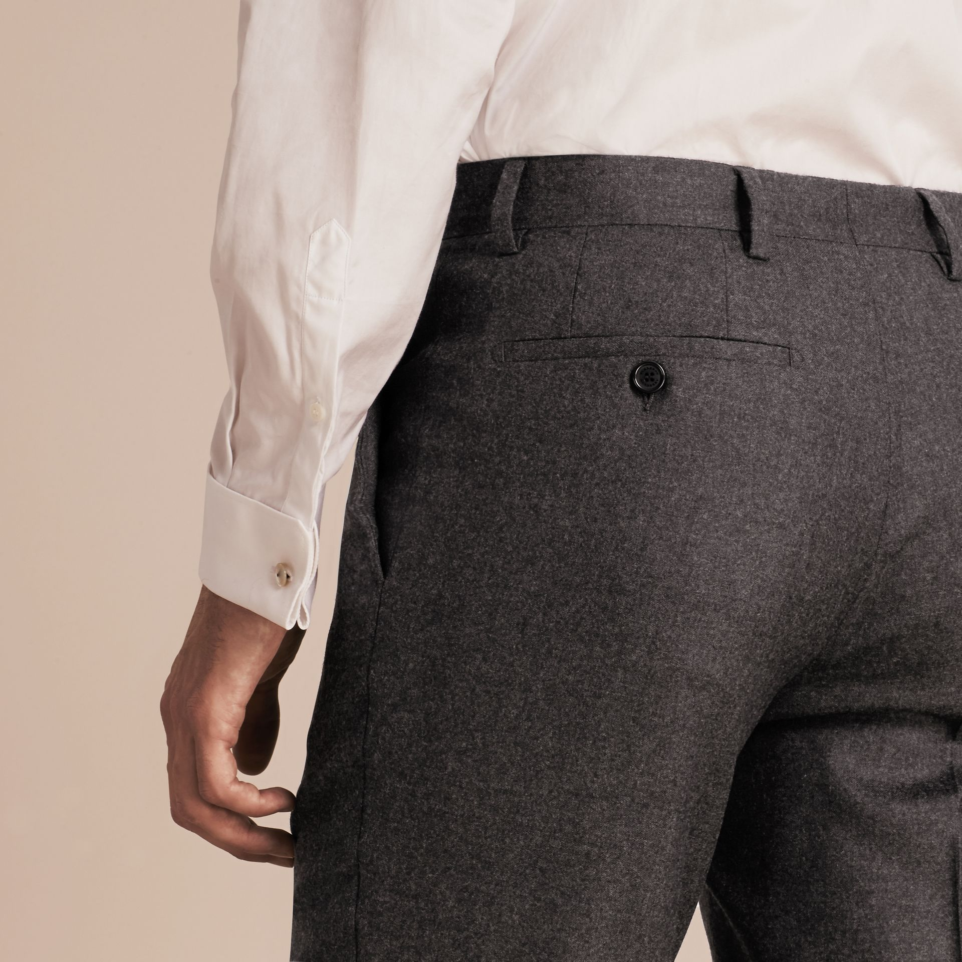 Dark grey melange Modern Fit Travel Tailoring Brushed Wool Trousers - gallery image 5