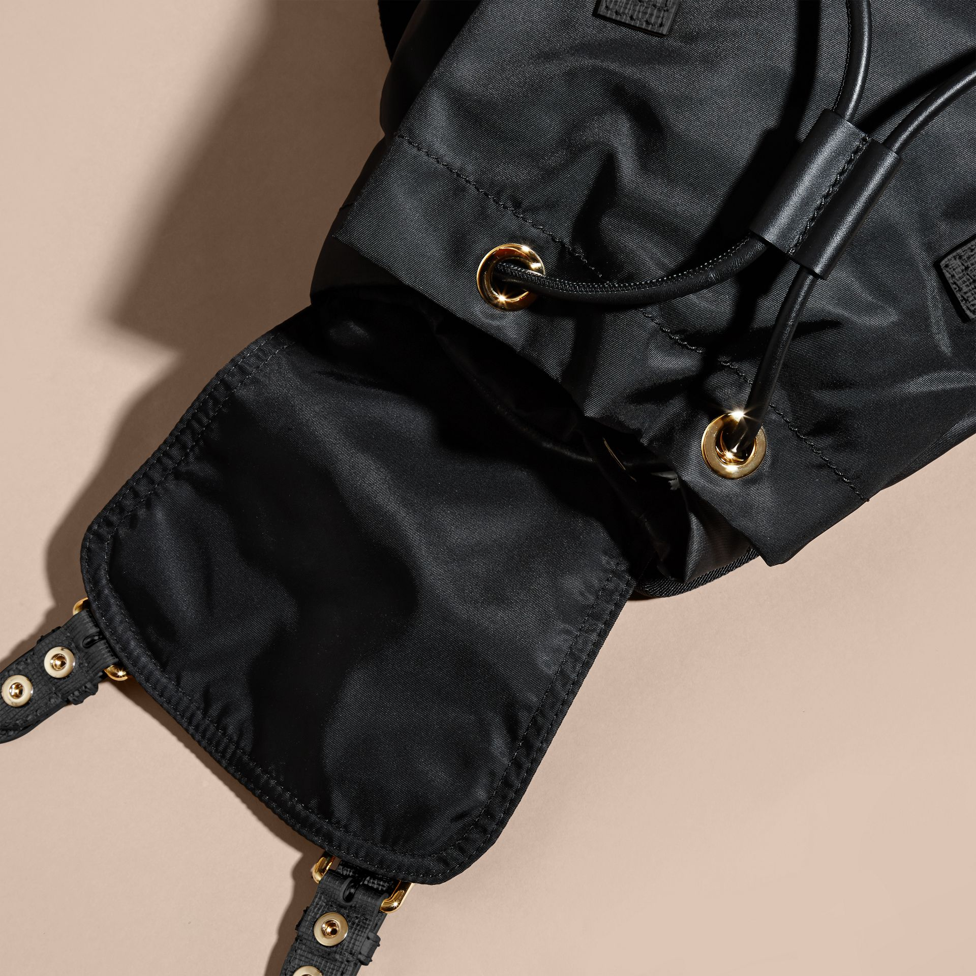 Black/gold The Medium Rucksack in Two-tone Nylon and Leather Black/gold - gallery image 5