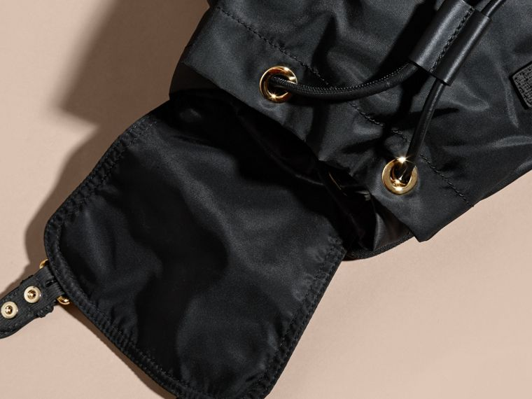 Black/gold The Medium Rucksack in Two-tone Nylon and Leather Black/gold - cell image 4