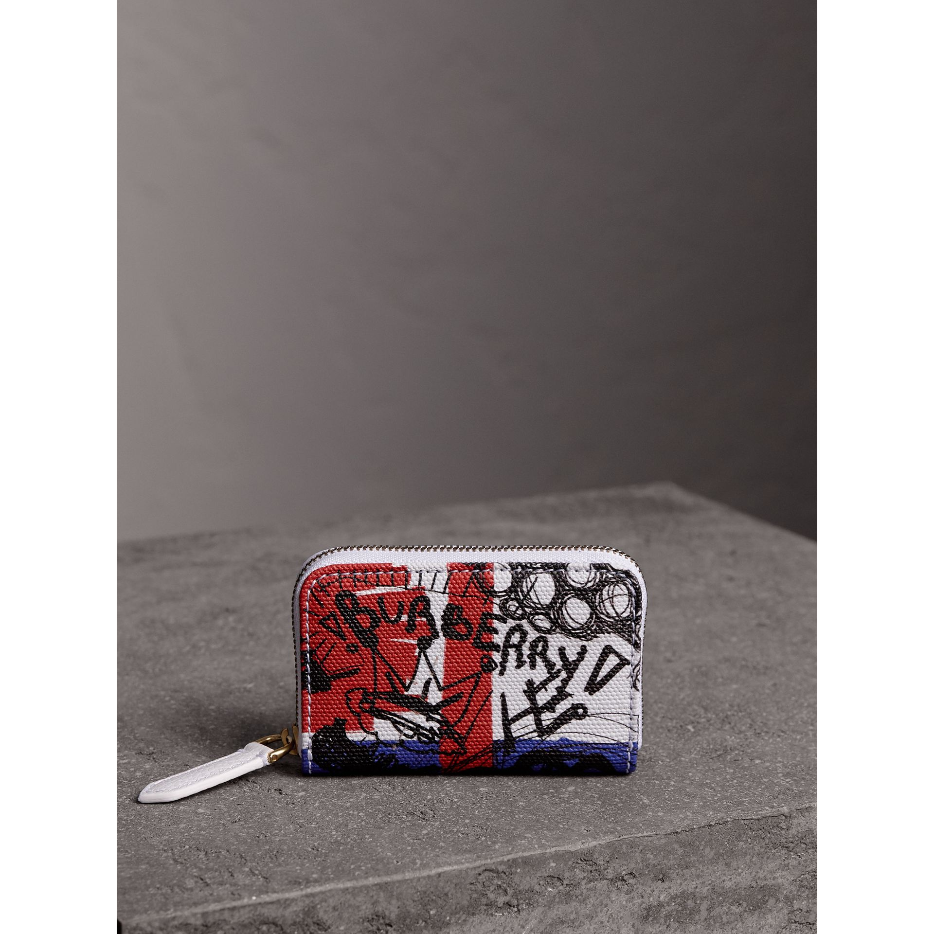 Doodle Print Coated Canvas Ziparound Coin Case in Red/blue | Burberry - gallery image 5