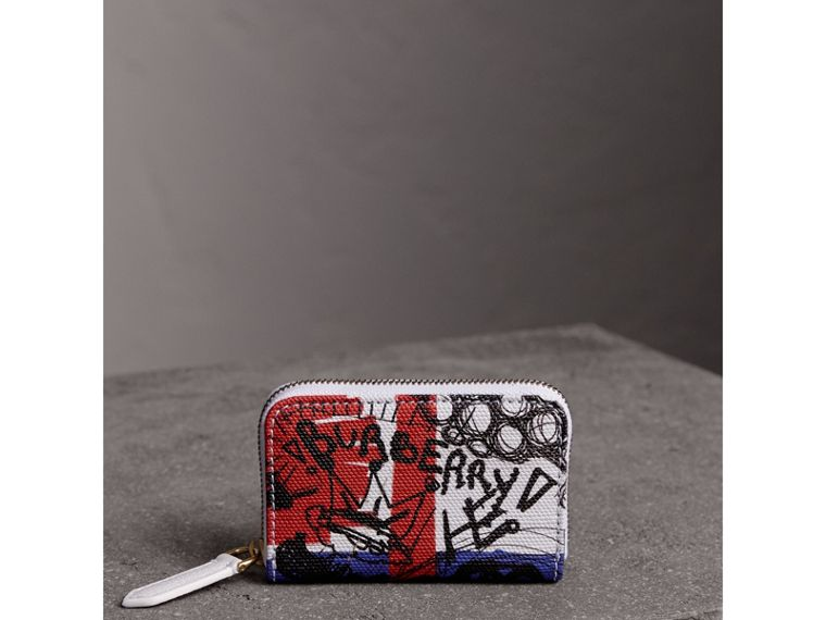 Doodle Print Coated Canvas Ziparound Coin Case in Red/blue | Burberry - cell image 4