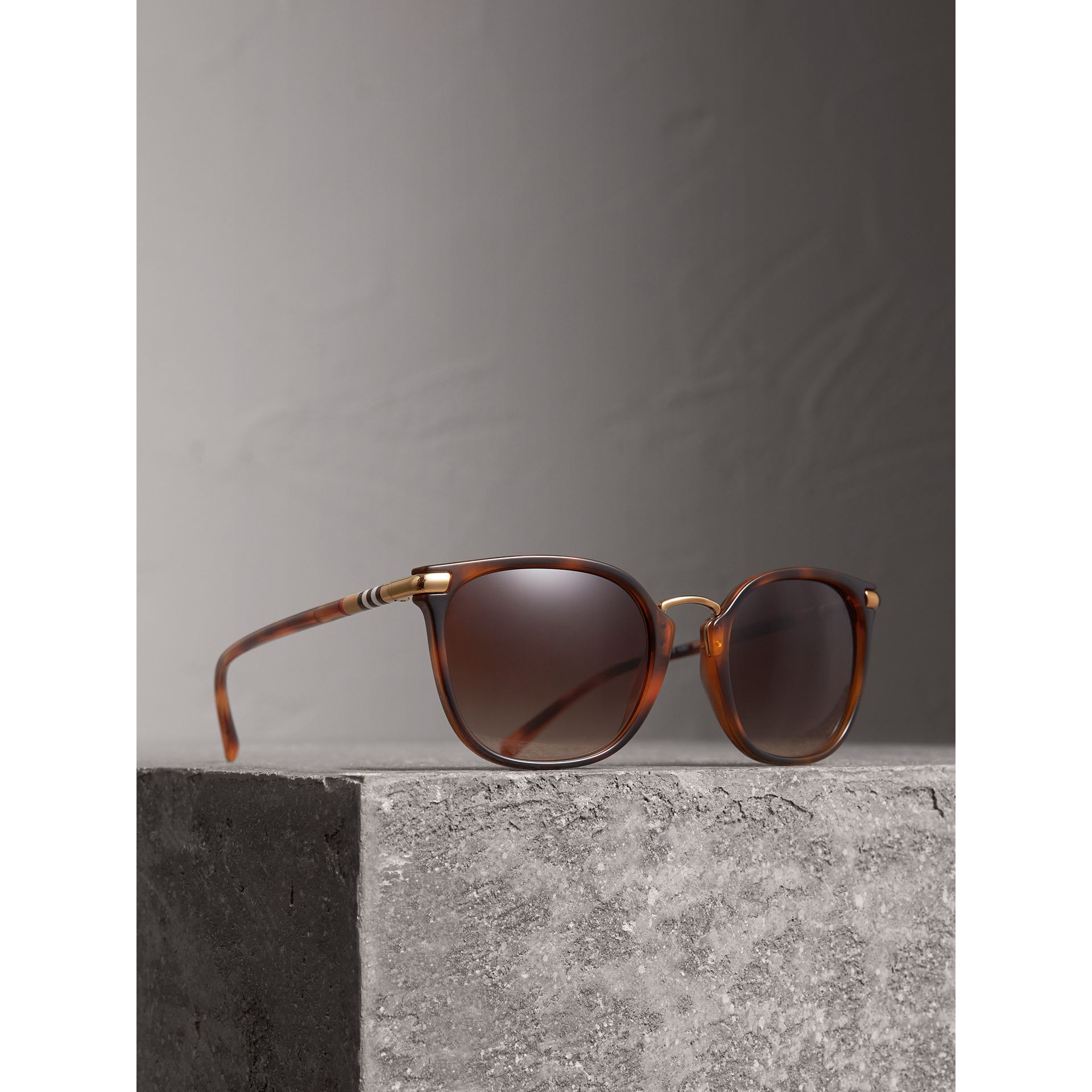 Check Detail Square Frame Sunglasses in Tortoise Shell - Women | Burberry - gallery image 1