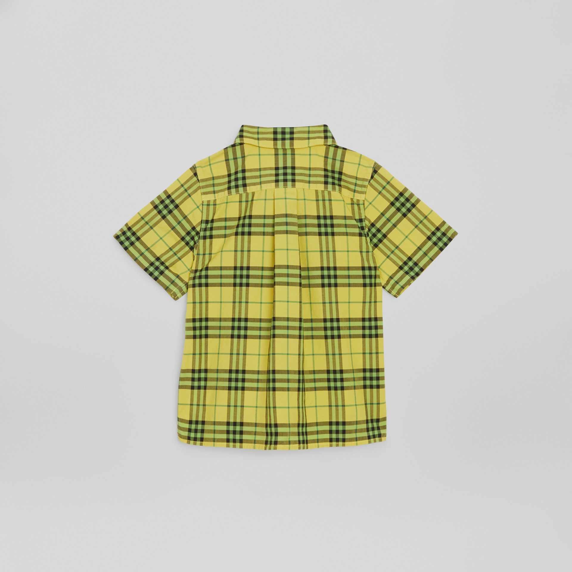 Short-sleeve Check Cotton Shirt in Citron | Burberry United States - gallery image 3