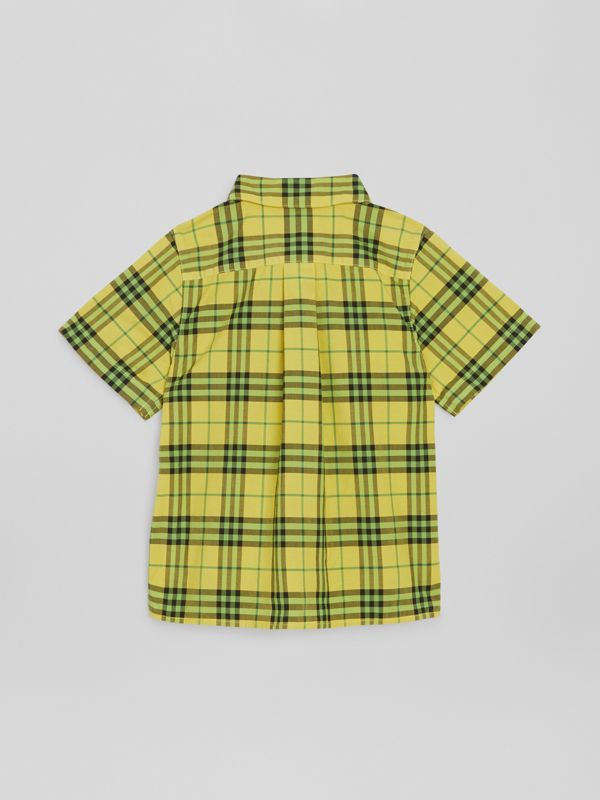 Short-sleeve Check Cotton Shirt in Citron | Burberry Singapore - cell image 3