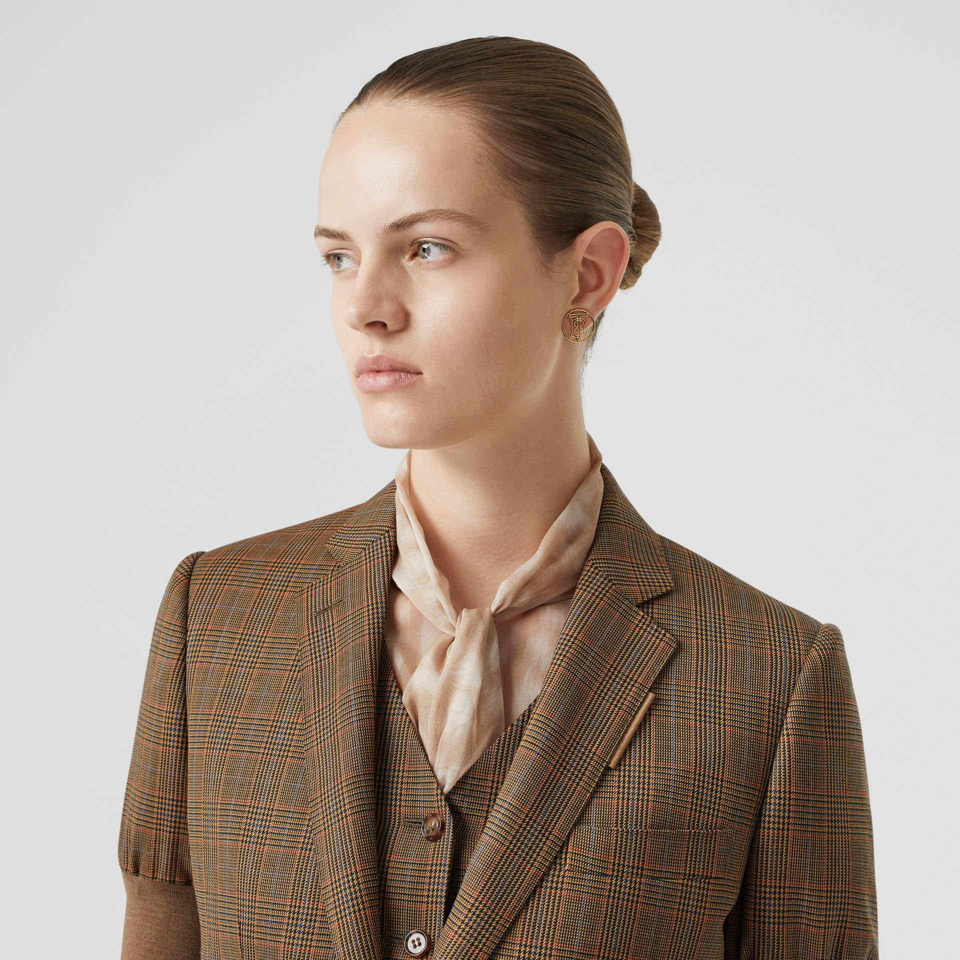 Knitted Sleeve Houndstooth Check Wool Tailored Jacket in Fawn - Women | Burberry Singapore - gallery image 1