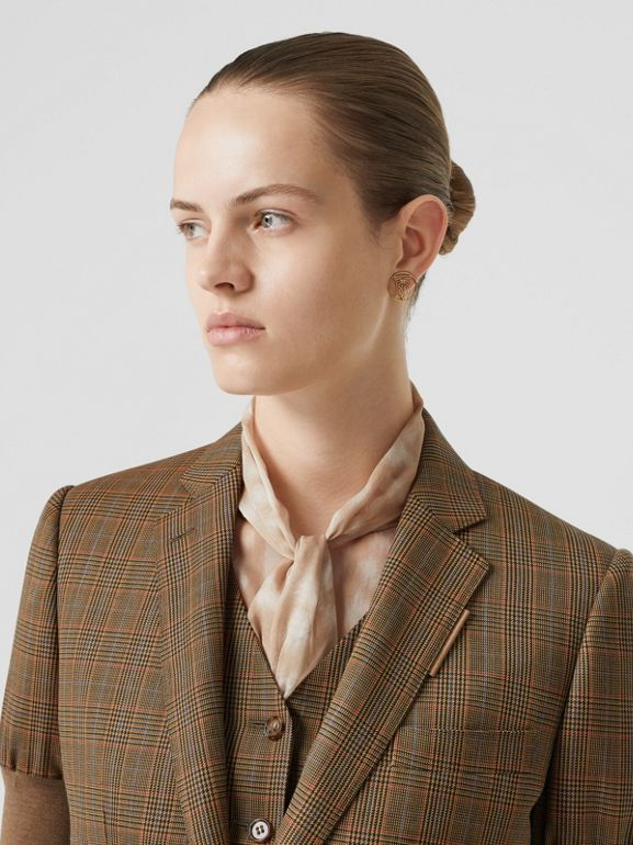 Knitted Sleeve Houndstooth Check Wool Tailored Jacket in Fawn - Women | Burberry Singapore - cell image 1