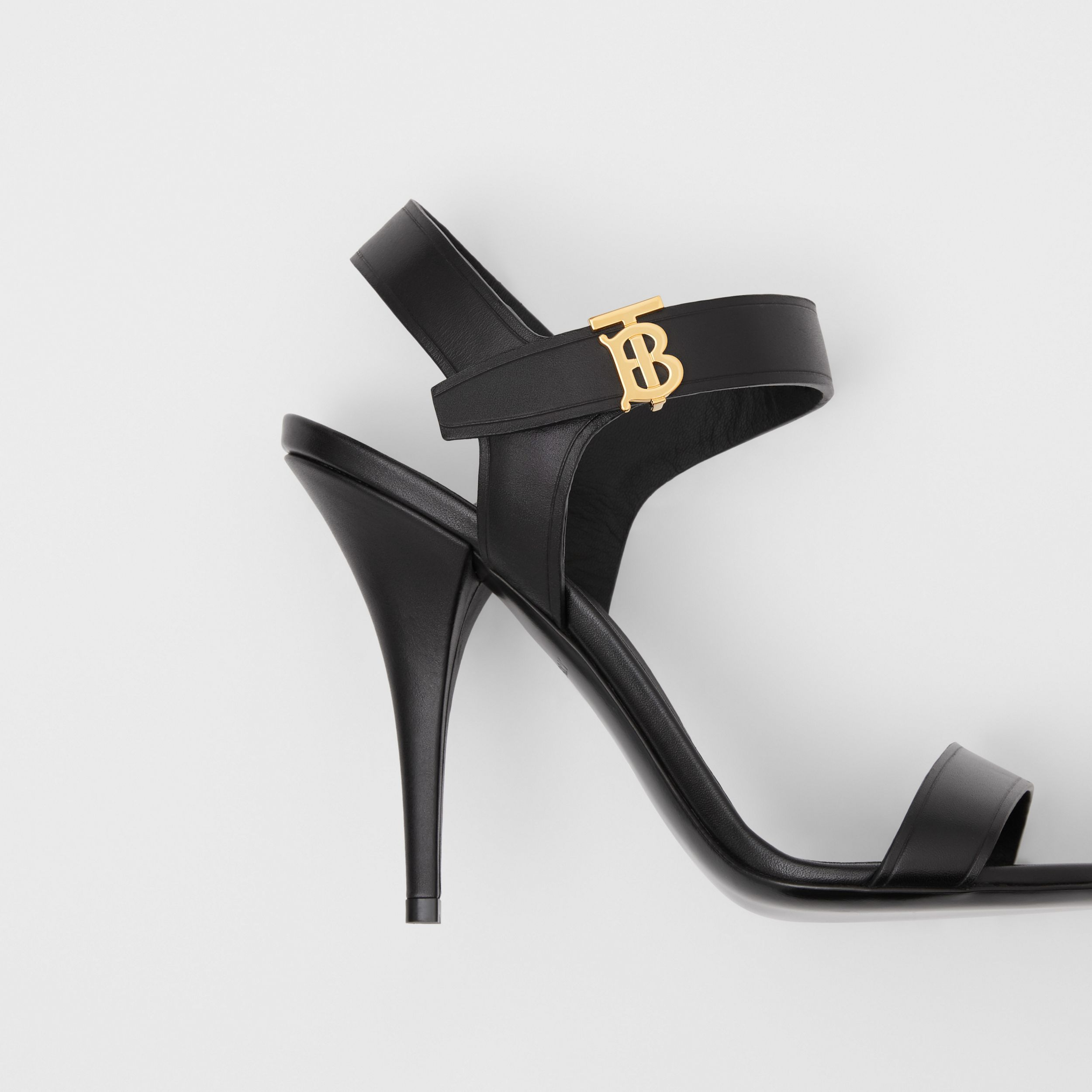 Monogram Motif Leather Sandals in Black - Women | Burberry - 2