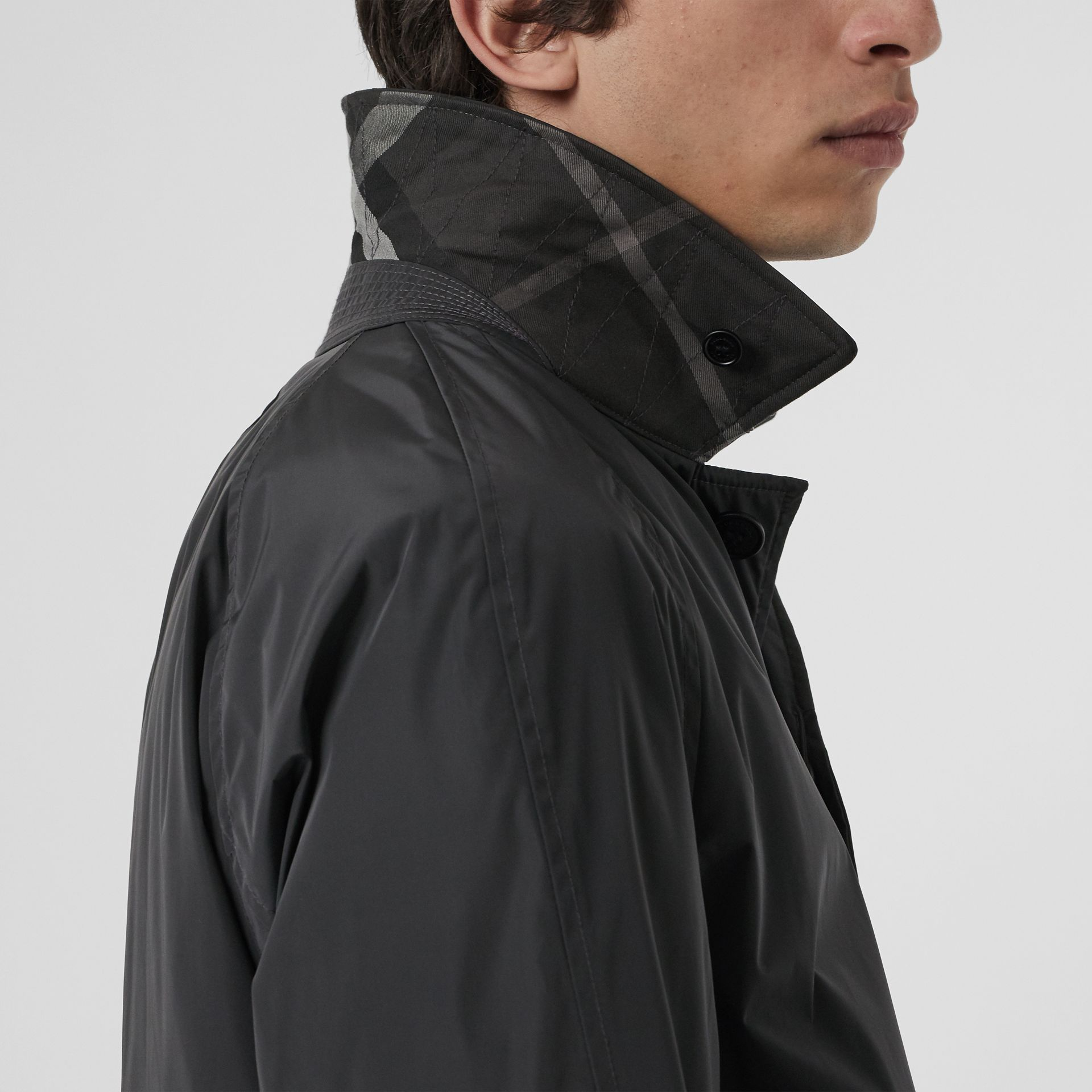 Quilt-lined Nylon Car Coat in Dark Charcoal - Men | Burberry Singapore - gallery image 1