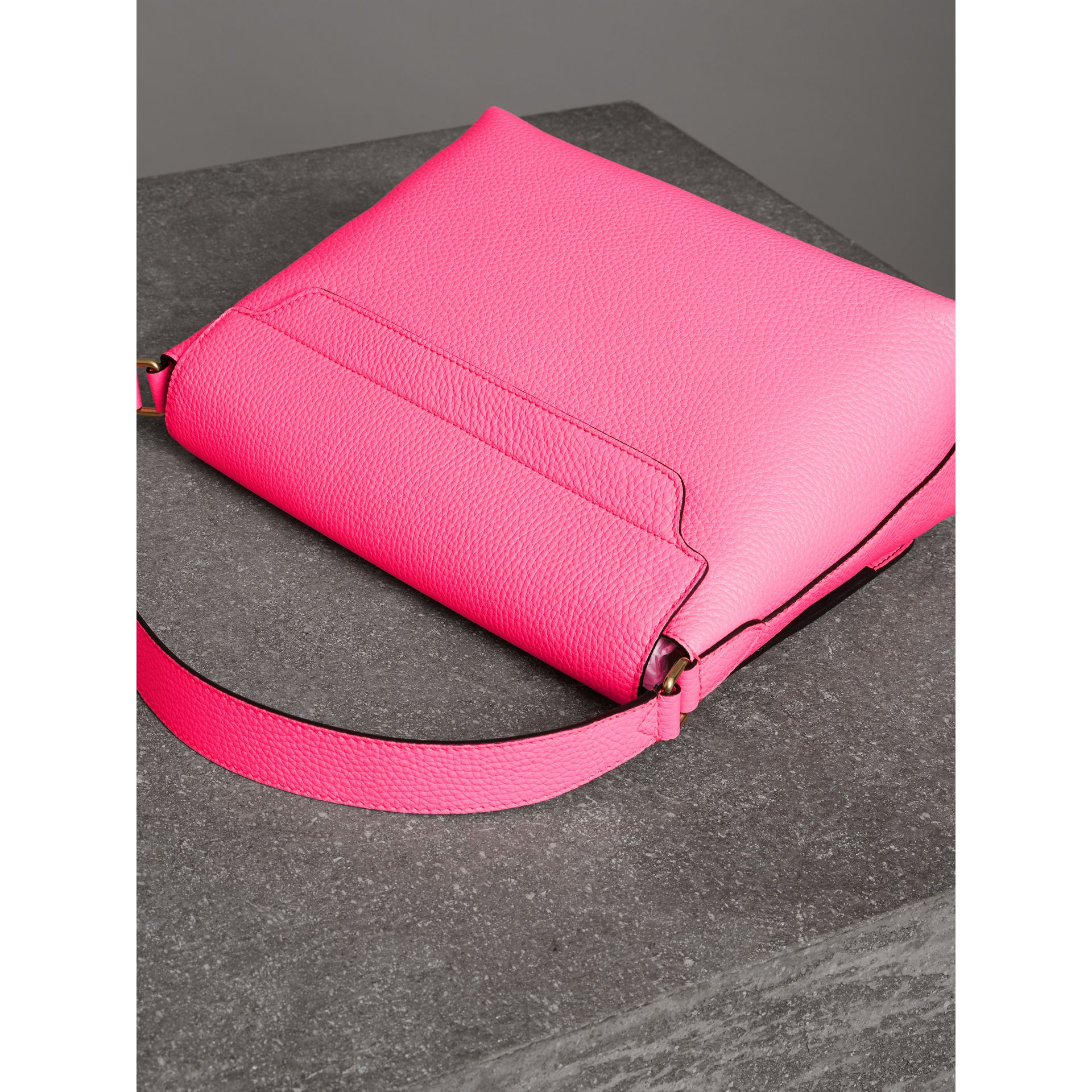 Medium Embossed Leather Messenger Bag in Neon Pink | Burberry Hong Kong - gallery image 4
