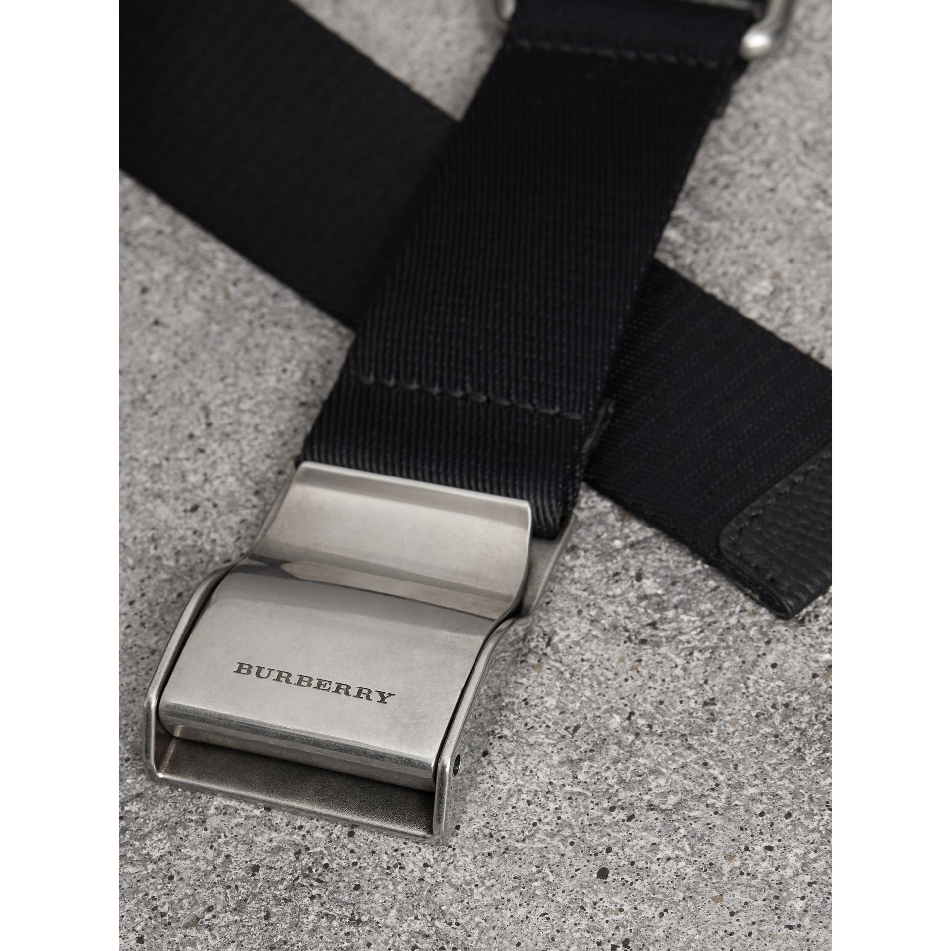 Plaque Buckle Nylon Belt in Black - Men | Burberry - gallery image 1