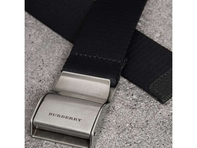 Plaque Buckle Nylon Belt in Black - Men | Burberry - cell image 1