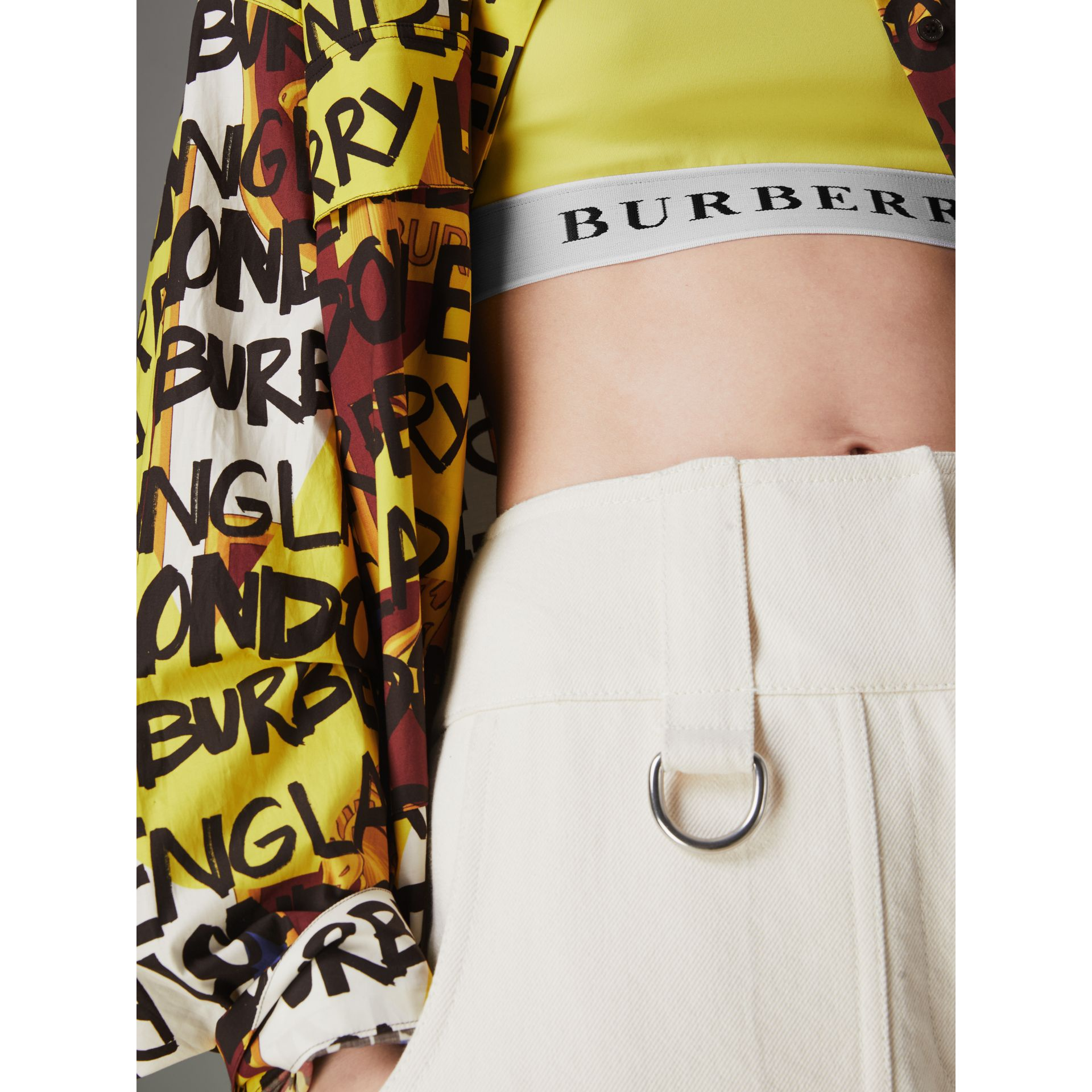 Logo Stretch Jersey Bra Top in Bright Yellow - Women | Burberry - gallery image 1