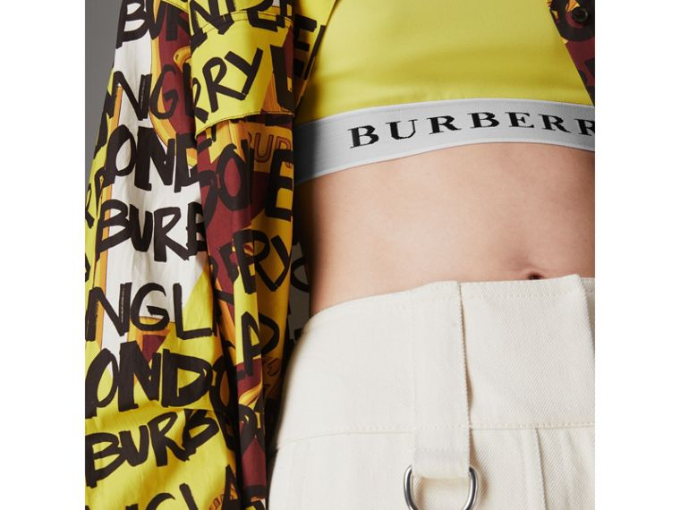 Logo Stretch Jersey Bra Top in Bright Yellow - Women | Burberry United States - cell image 1