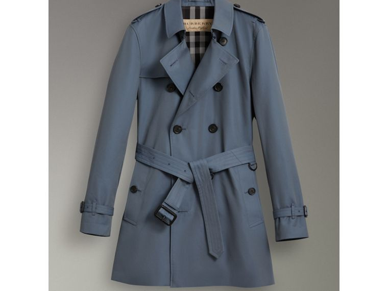 Cotton Gabardine Trench Coat in Empire Blue - Men | Burberry - cell image 4
