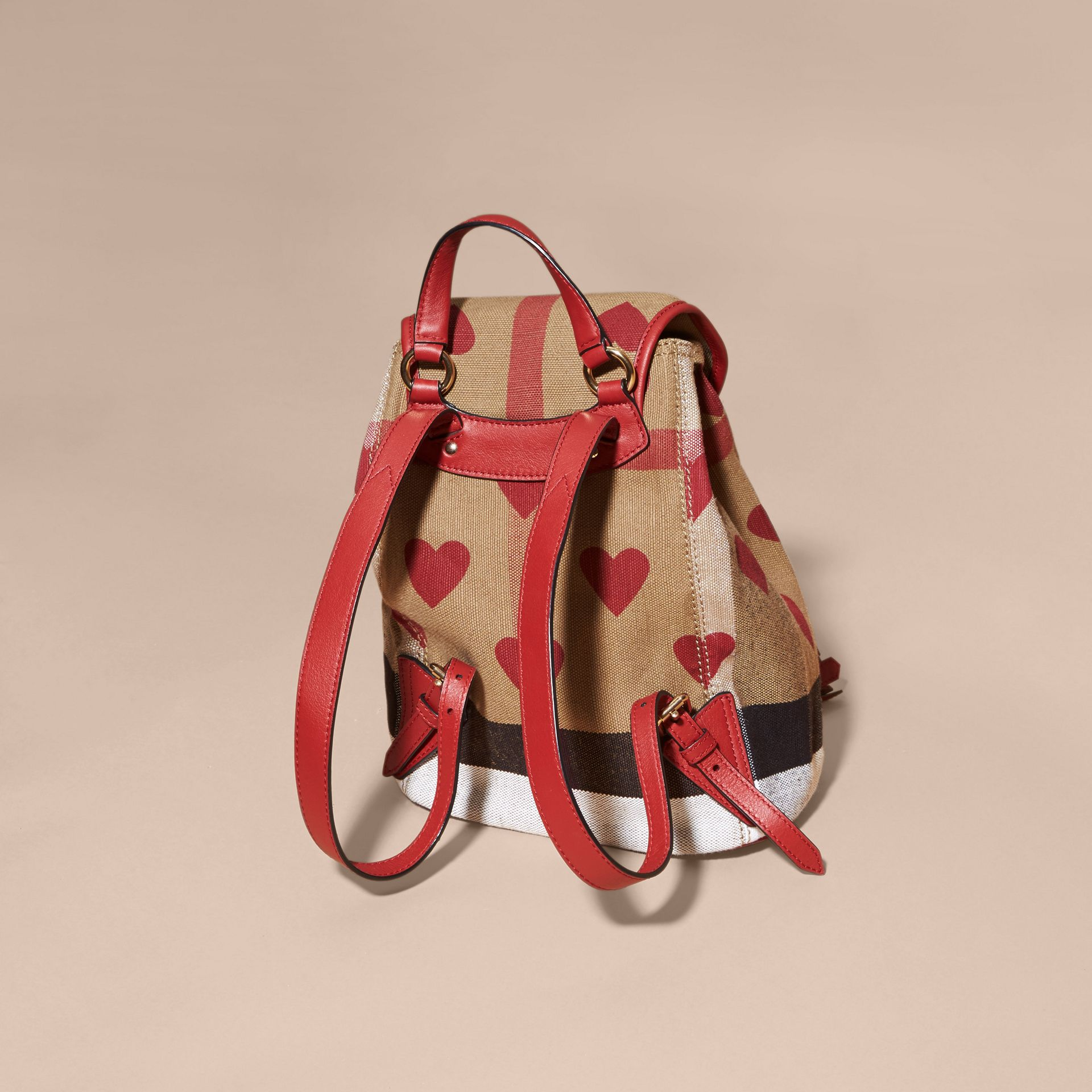 Parade red Heart Print Canvas Check Mini Backpack - gallery image 4