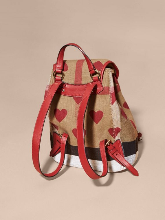 Parade red Heart Print Canvas Check Mini Backpack - cell image 3