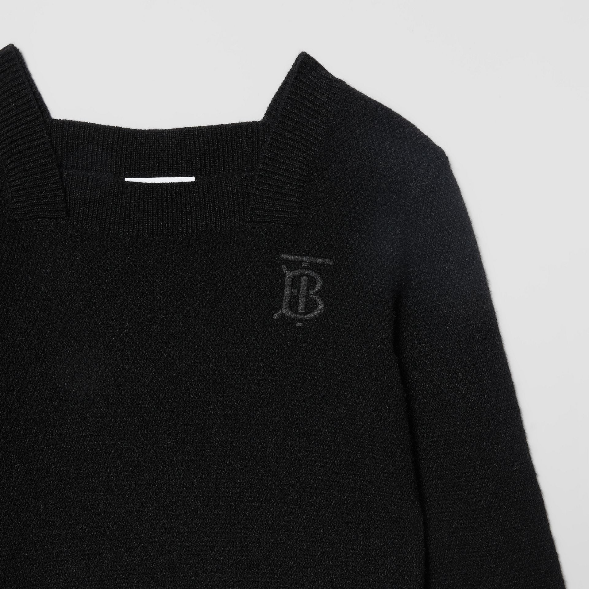 Monogram Motif Cashmere Sweater Dress in Black | Burberry United States - gallery image 4