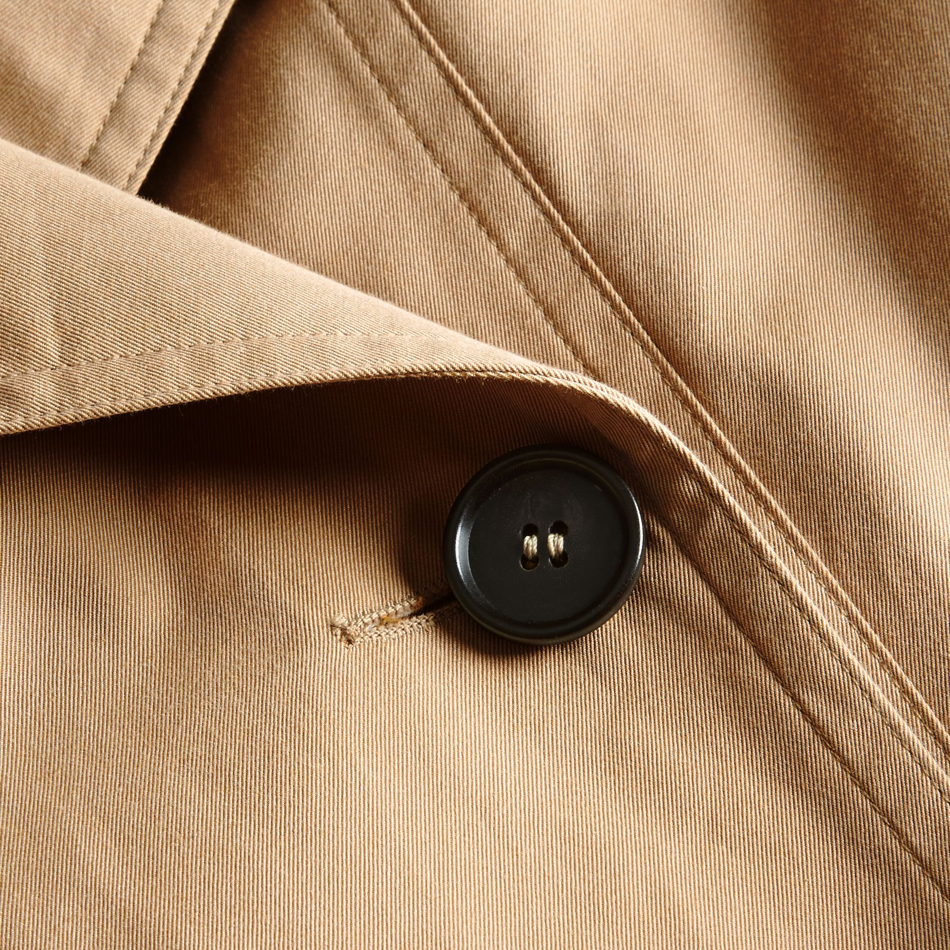 Honey Cotton Gabardine A-line Trench Coat - gallery image 2