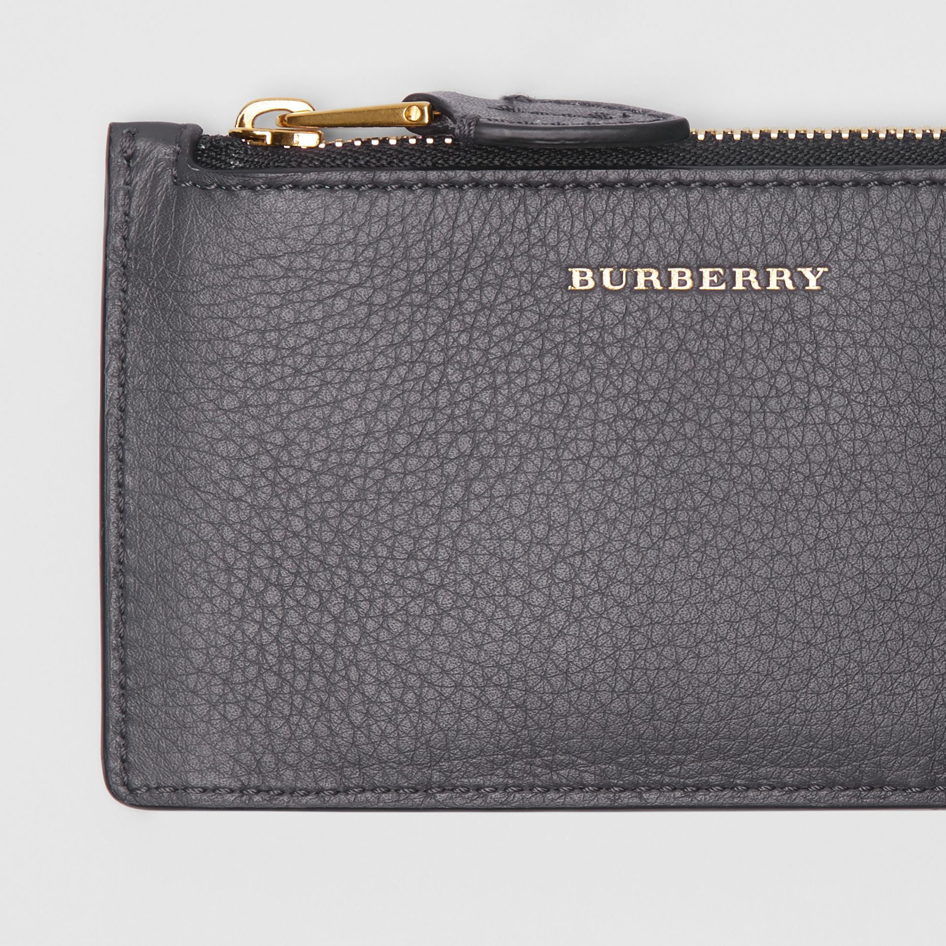 Two-tone Leather Card Case in Charcoal Grey - Women | Burberry Singapore - gallery image 1