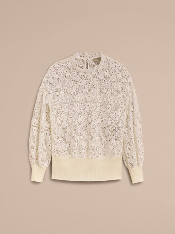 Ribbed Detail Voluminous Lace Top in Antique White - Women | Burberry - cell image 3