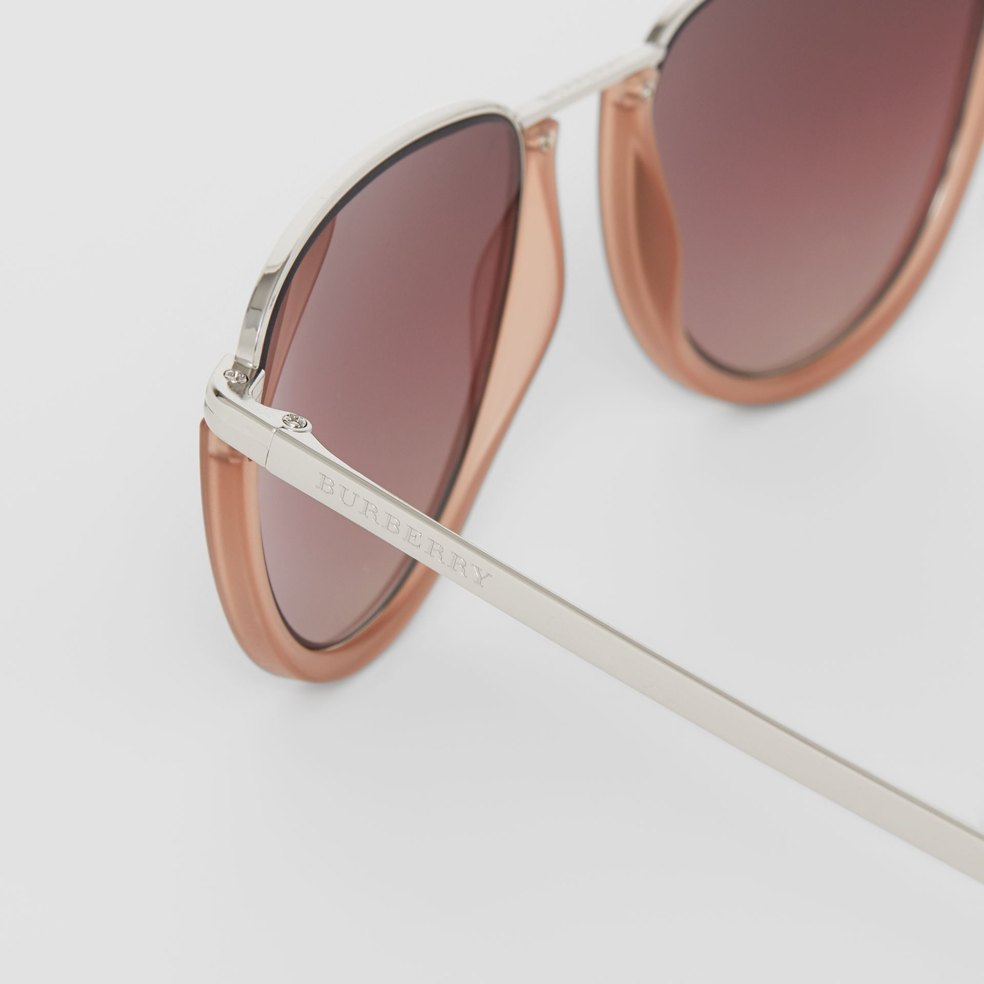Half Moon Pilot Round Frame Sunglasses in Nude - Women | Burberry United Kingdom - gallery image 1
