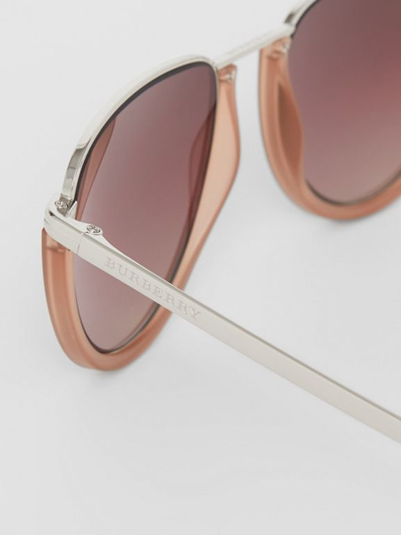 Half Moon Pilot Round Frame Sunglasses in Nude - Women | Burberry - cell image 1