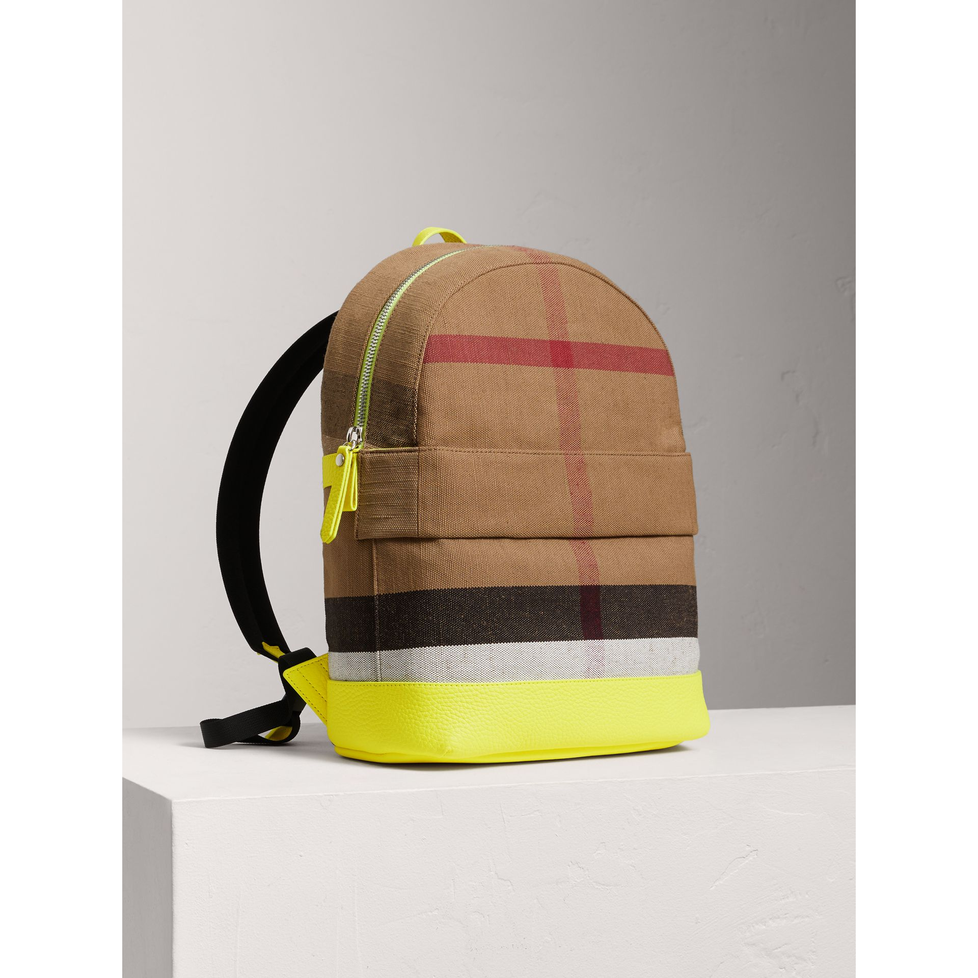 Canvas Check and Leather Backpack in Neon Yellow | Burberry United States - gallery image 0