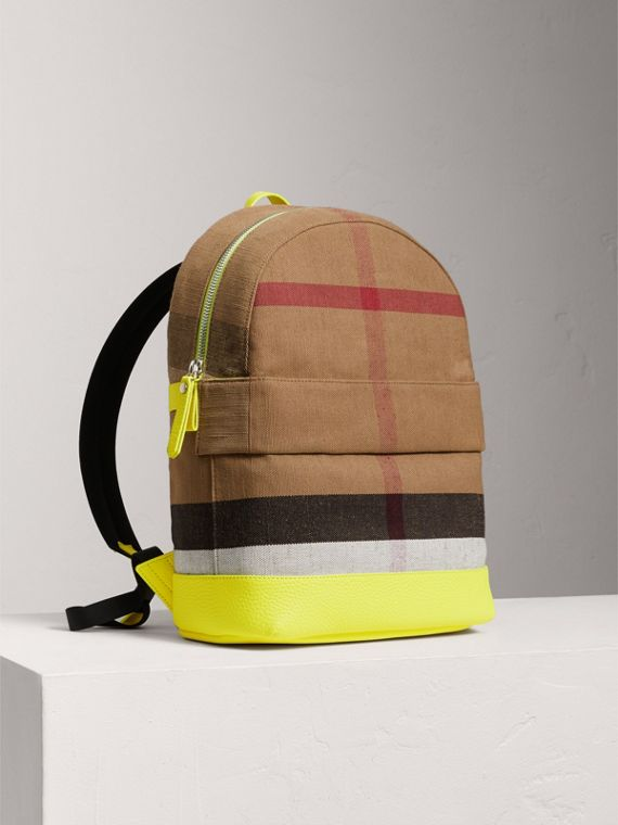 Canvas Check and Leather Backpack in Neon Yellow