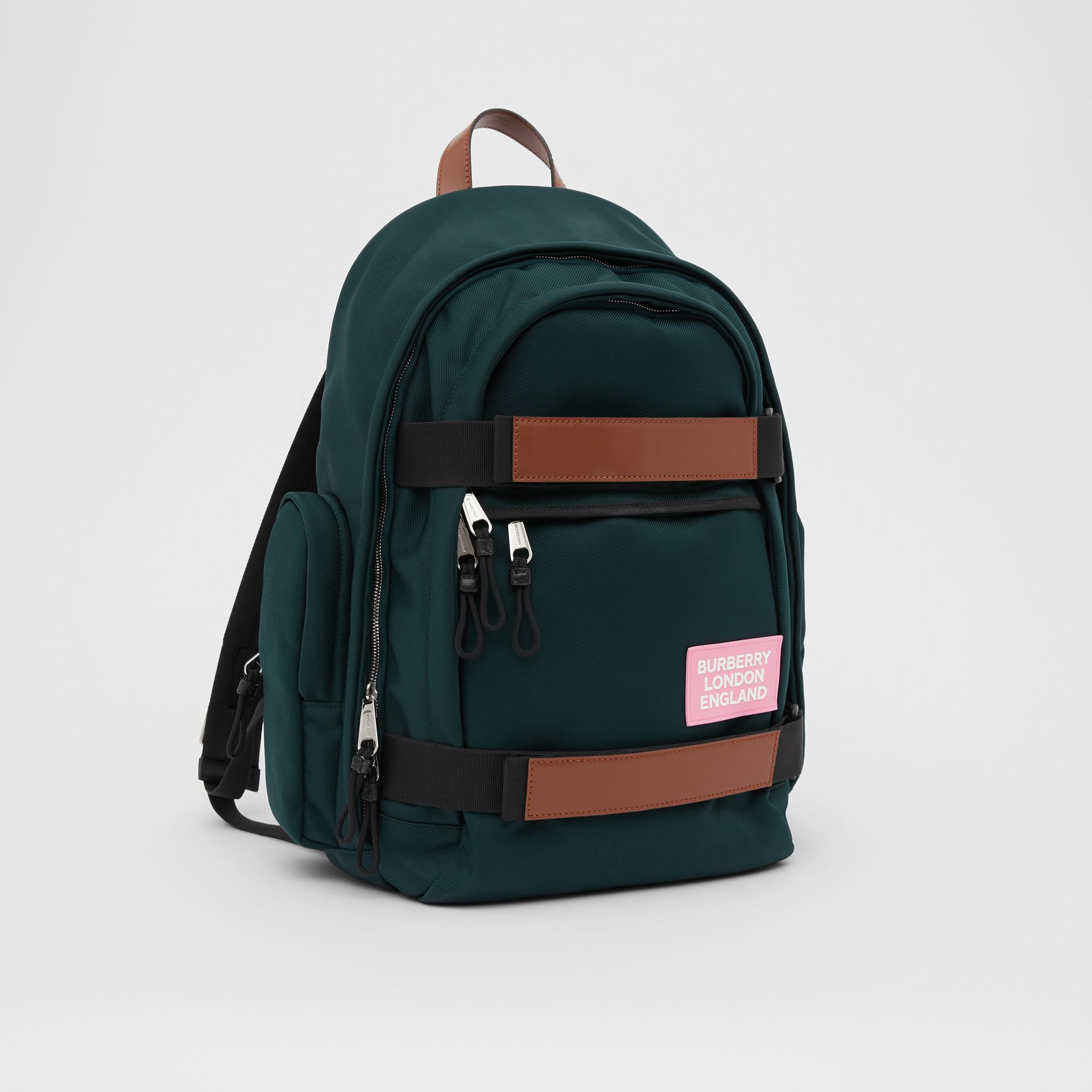 Large Leather Trim Nylon Nevis Backpack in Dark Pine Green | Burberry United States - gallery image 6