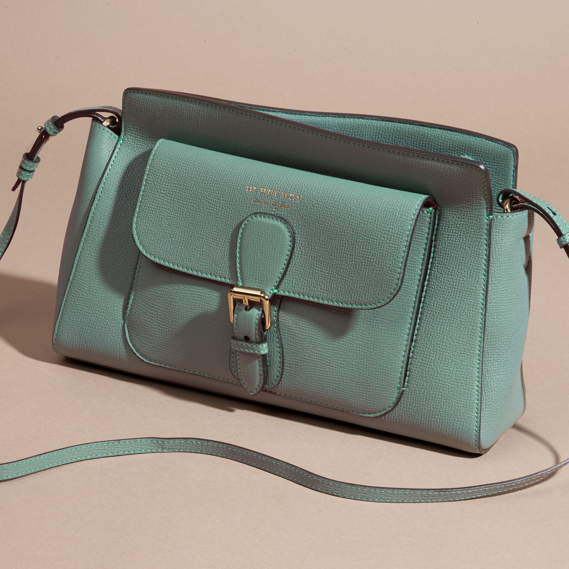Smokey green The Saddle Clutch in Grainy Bonded Leather Smokey Green - gallery image 7
