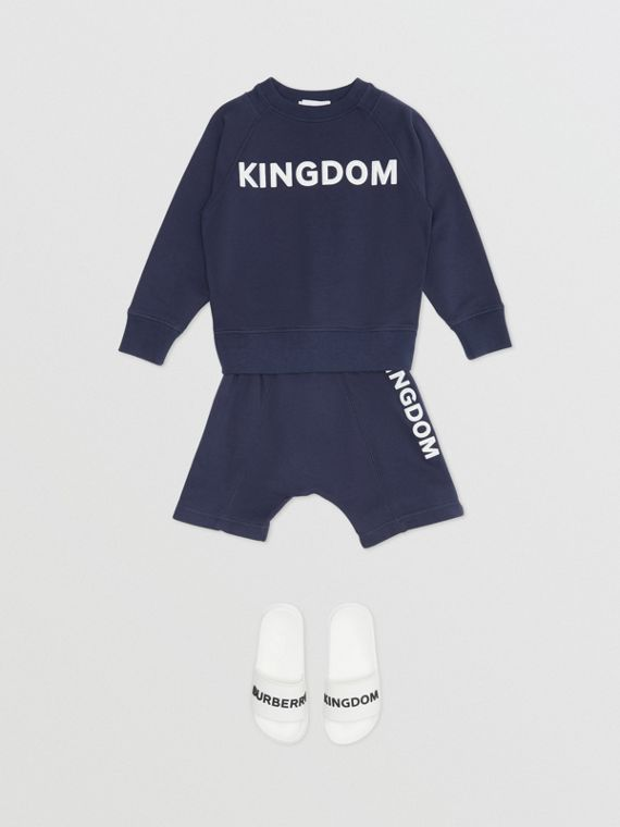 """Baumwollsweatshirt mit """"Kingdom""""-Schriftzug (Schieferblau Meliert)"""