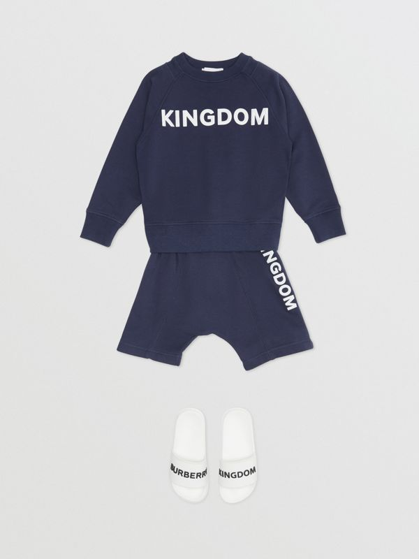 Kingdom Motif Cotton Sweatshirt in Slate Blue Melange | Burberry United States - cell image 2