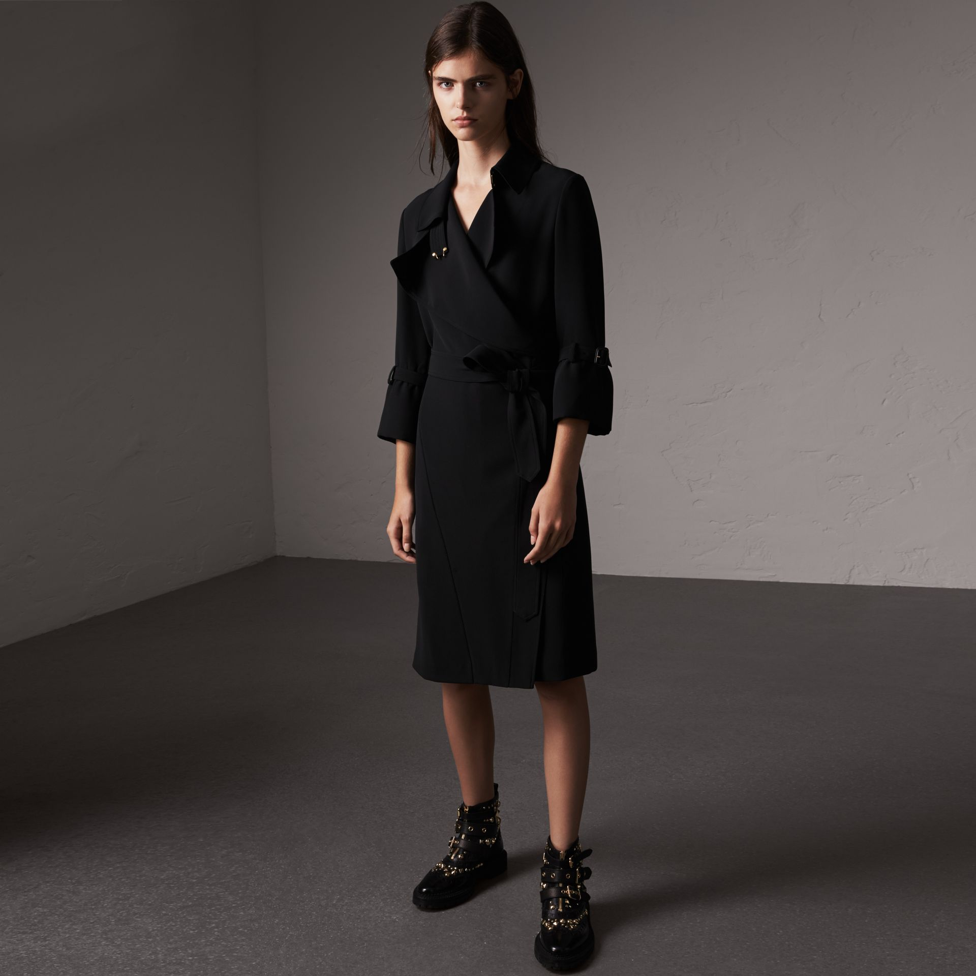 Silk Georgette Trench Wrap Dress in Black - Women | Burberry - gallery image 0