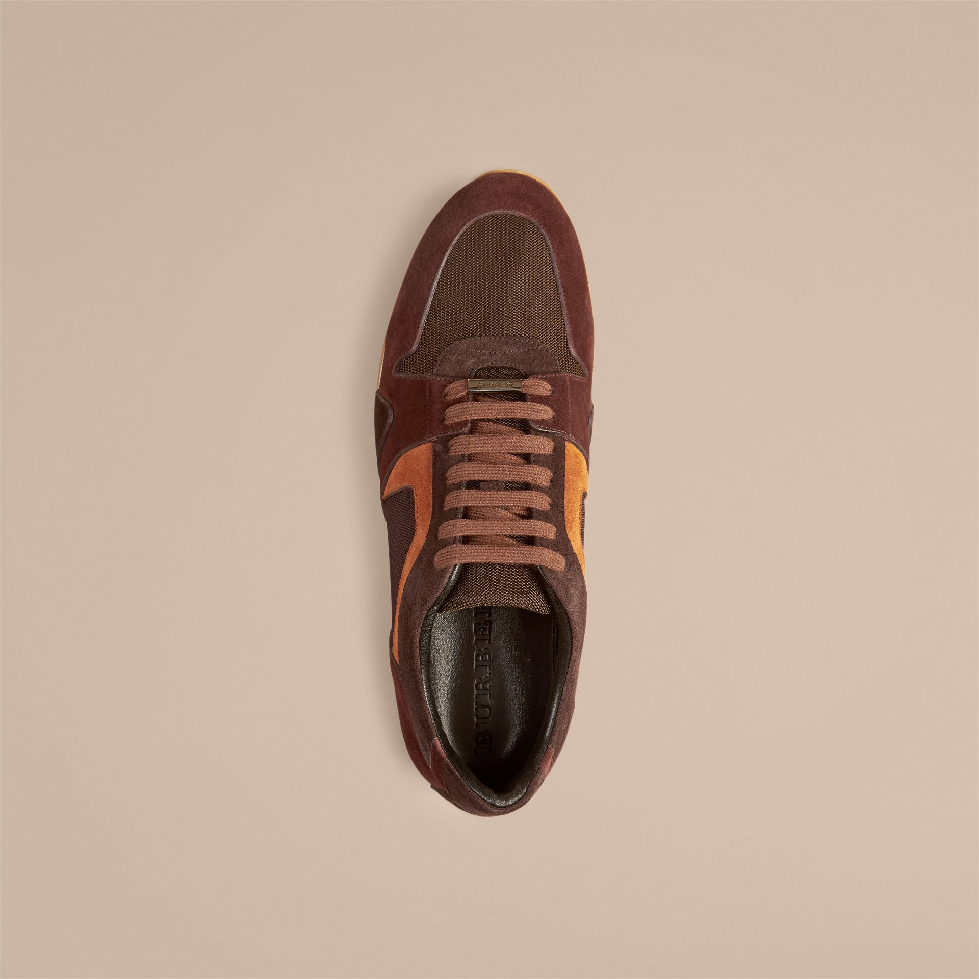 Russet brown The Field Sneaker in Colour Block Suede and Mesh Russet Brown - gallery image 2