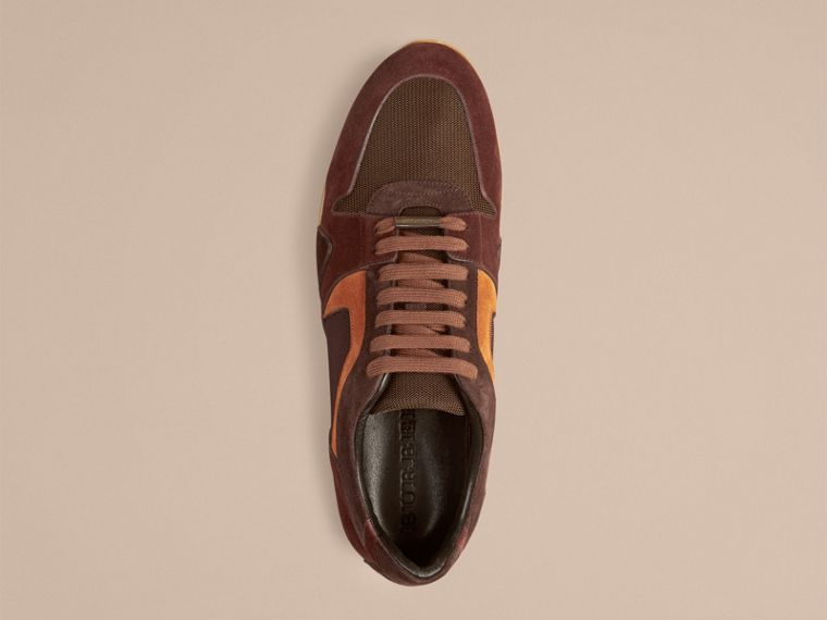 Russet brown The Field Sneaker in Colour Block Suede and Mesh Russet Brown - cell image 1