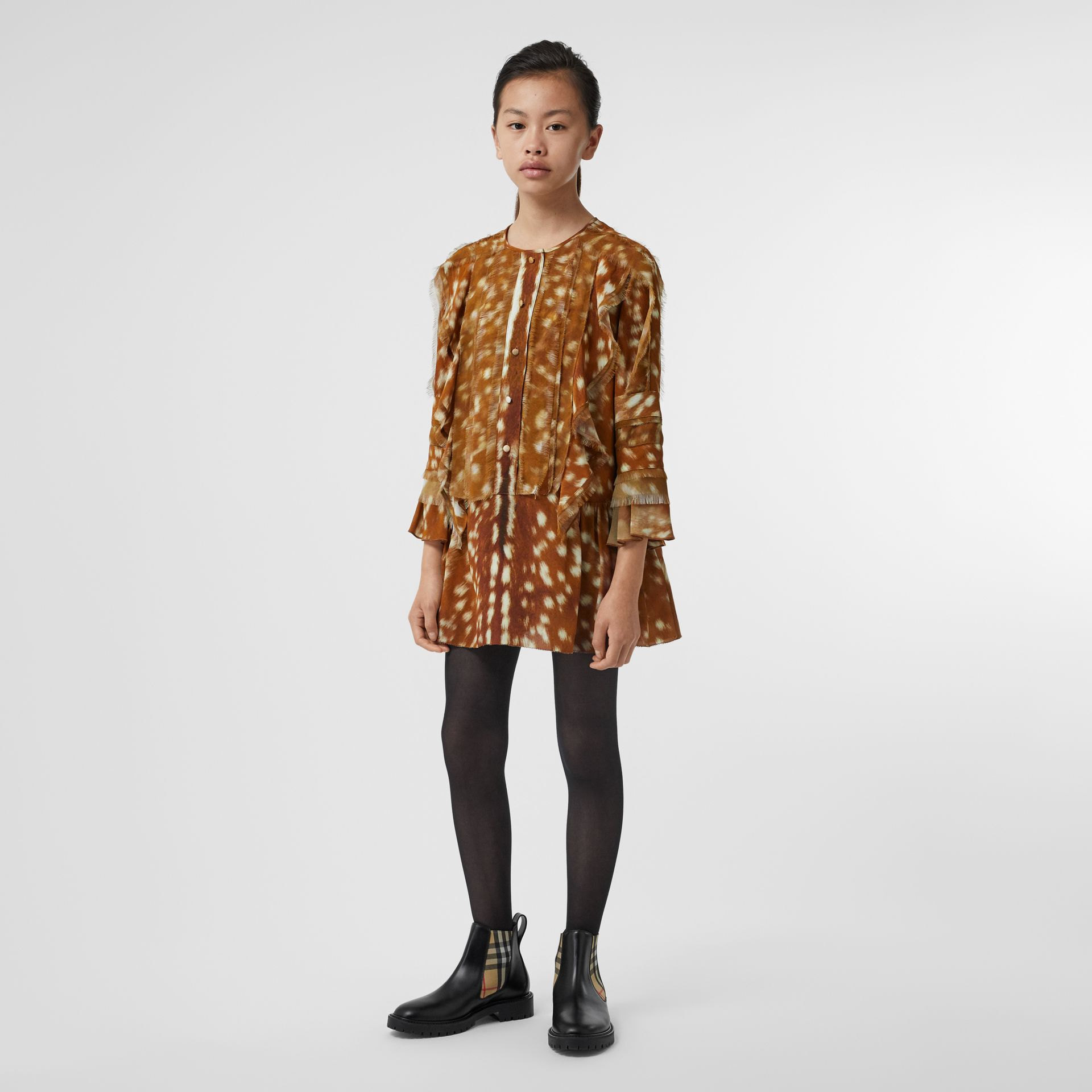 Ruffle Detail Deer Print Silk Dress in Honey | Burberry Singapore - gallery image 2