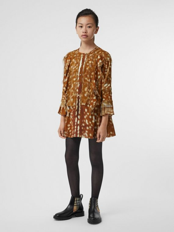 Ruffle Detail Deer Print Silk Dress in Honey