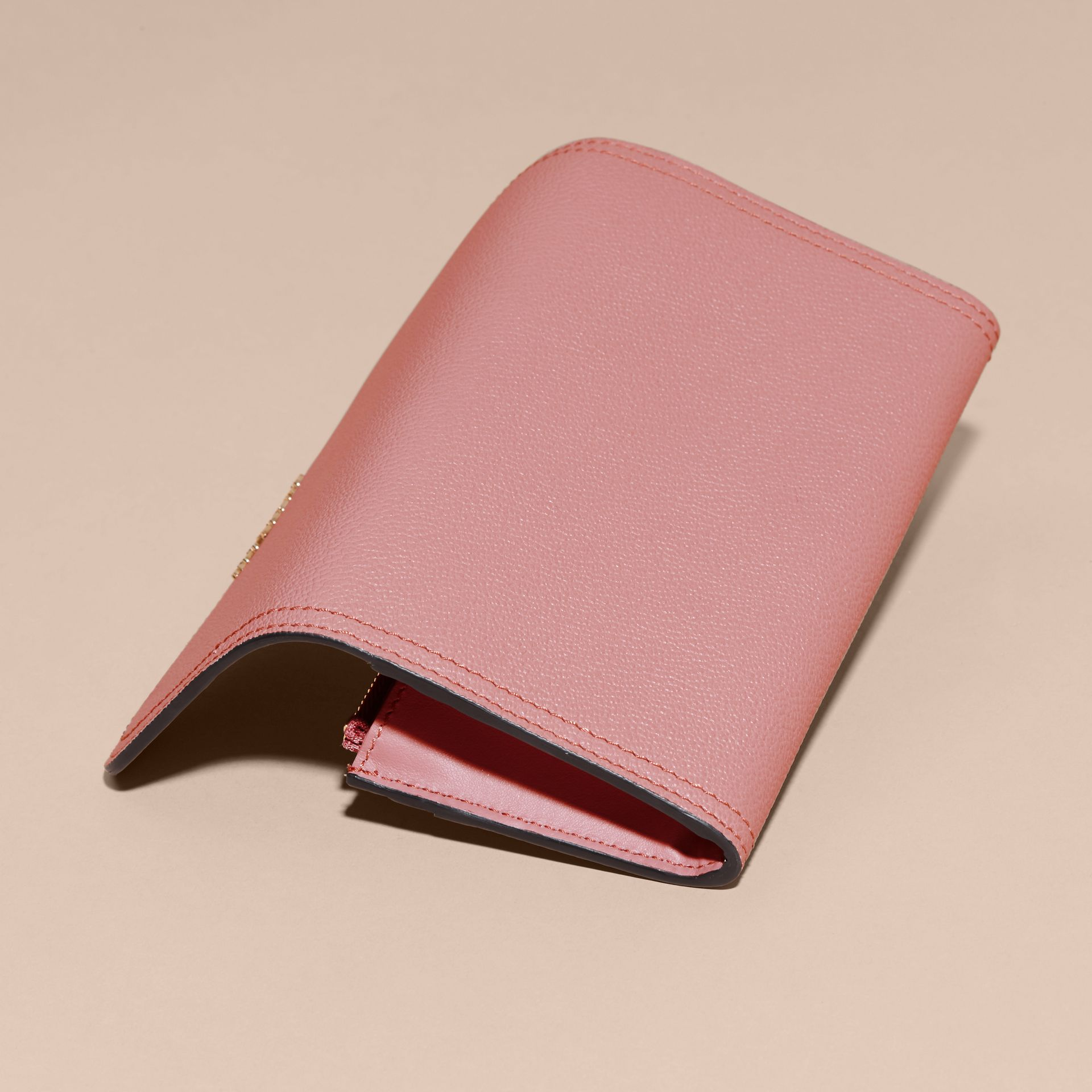 Grainy Leather Slim Continental Wallet in Dusty Pink - Women | Burberry - gallery image 5