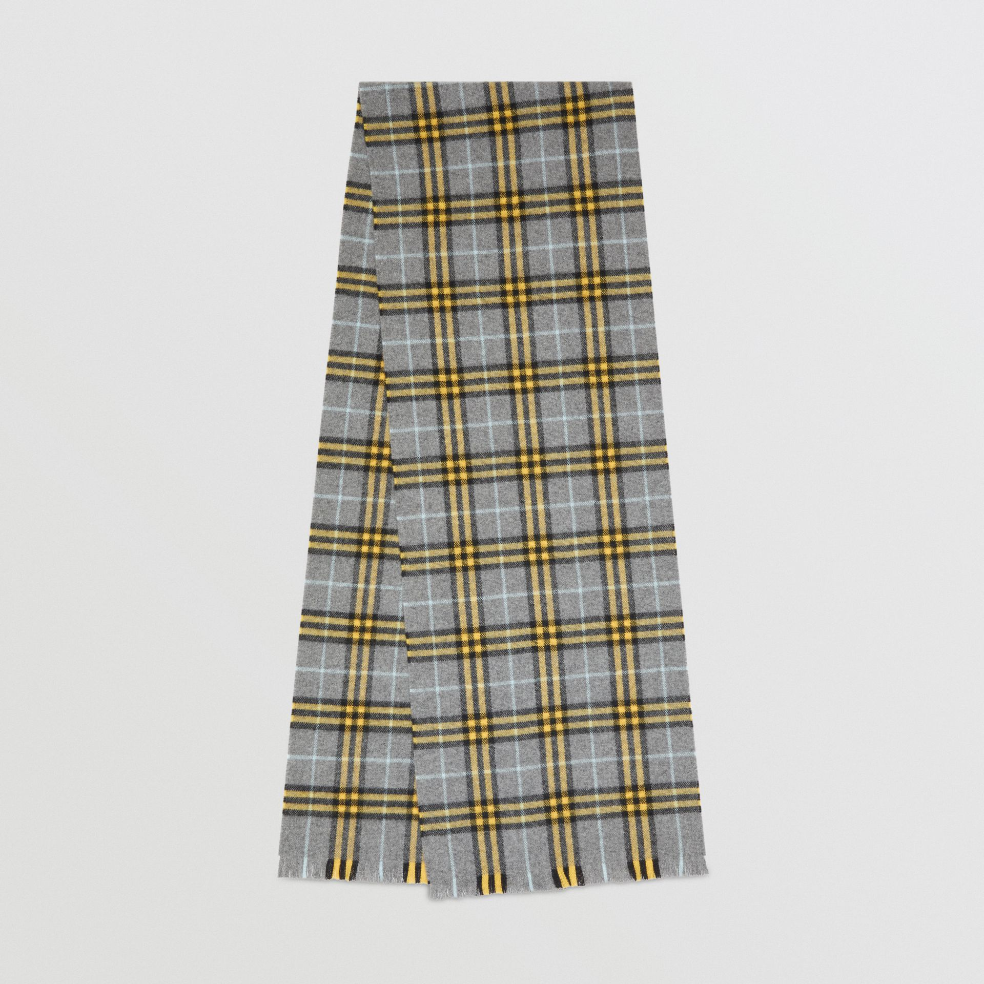 Check Cashmere Scarf in Storm Grey | Burberry - gallery image 0