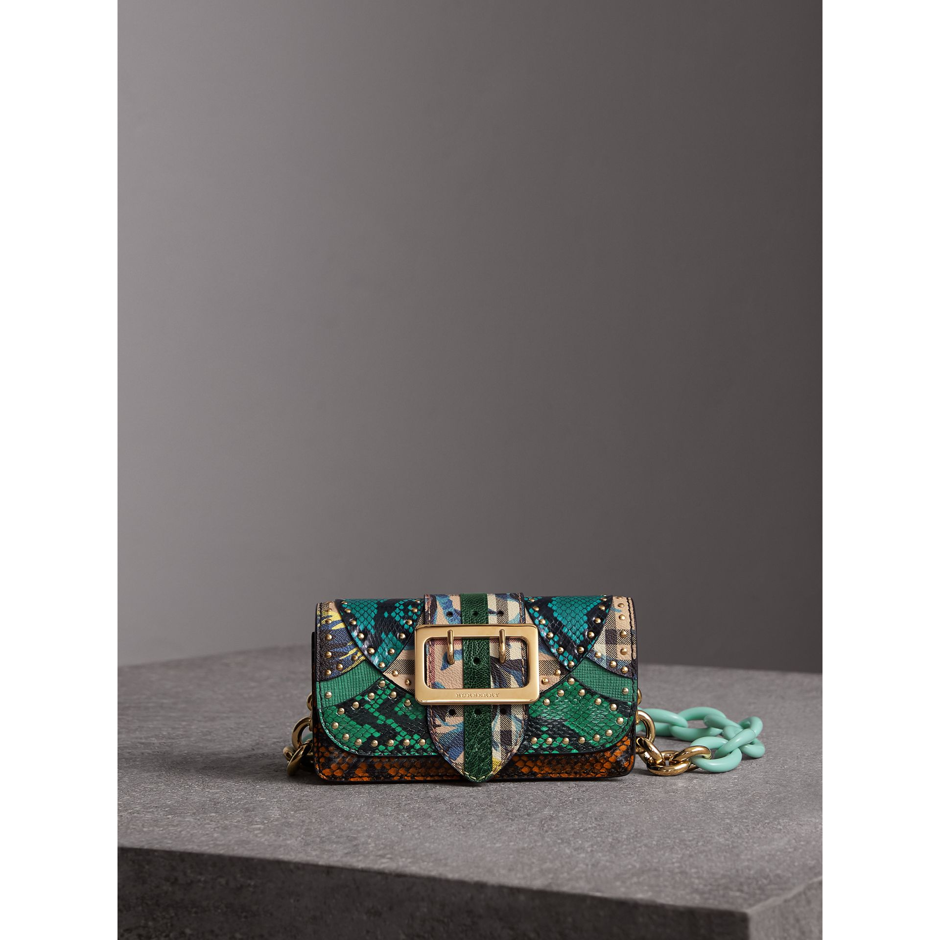 The Small Buckle Bag in Riveted Snakeskin and Floral Print in Turquoise - Women | Burberry Hong Kong - gallery image 1