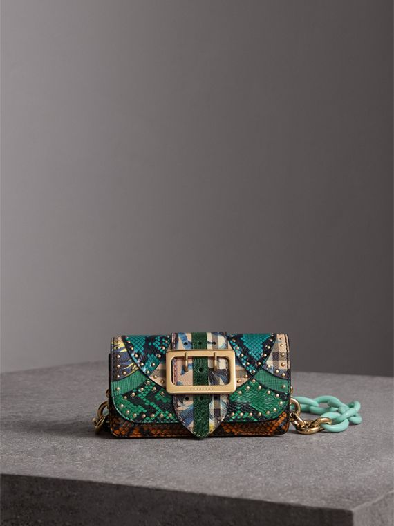 The Small Buckle Bag in Riveted Snakeskin and Floral Print in Turquoise