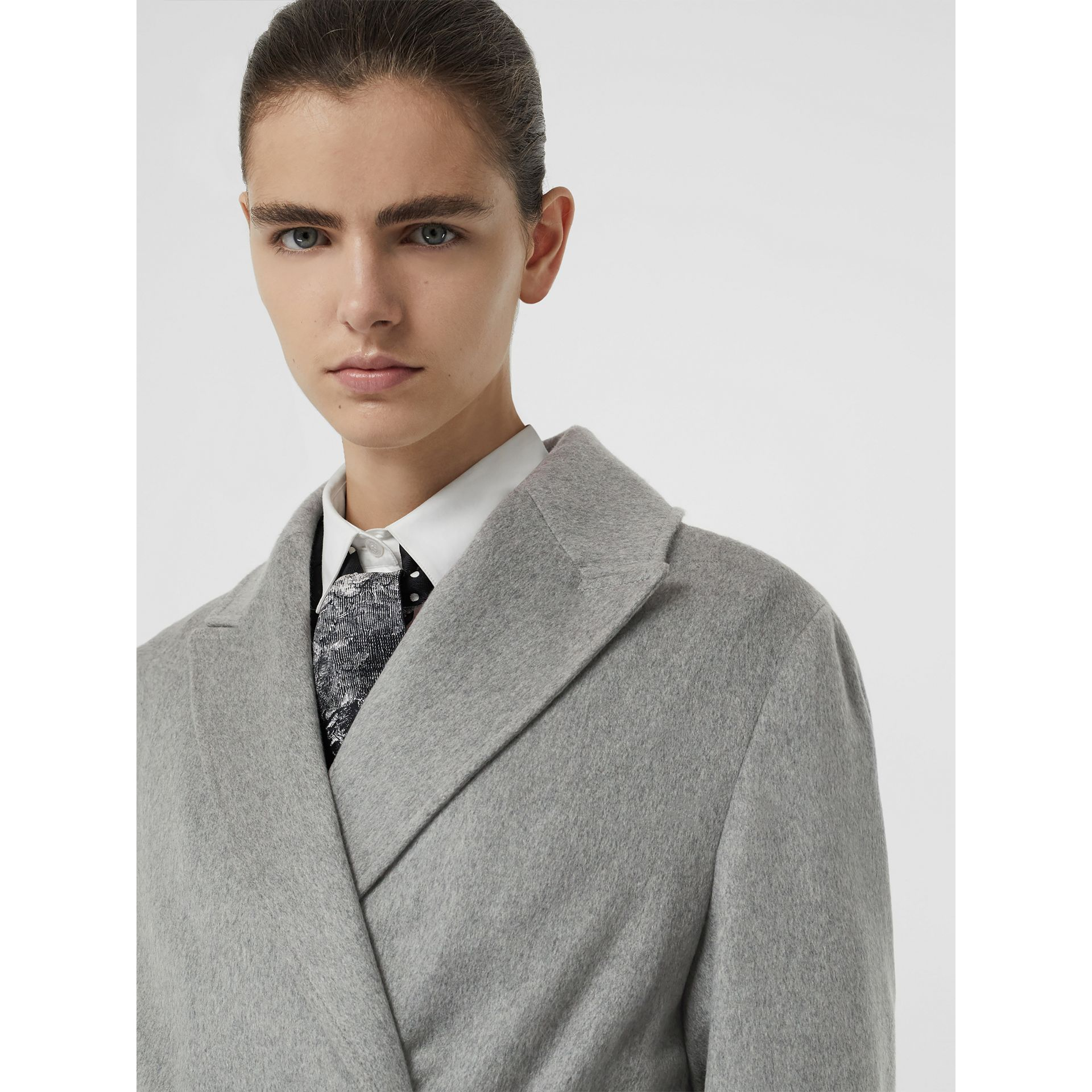 Peak Lapel Cashmere Wrap Coat in Pale Grey Melange - Women | Burberry - gallery image 1