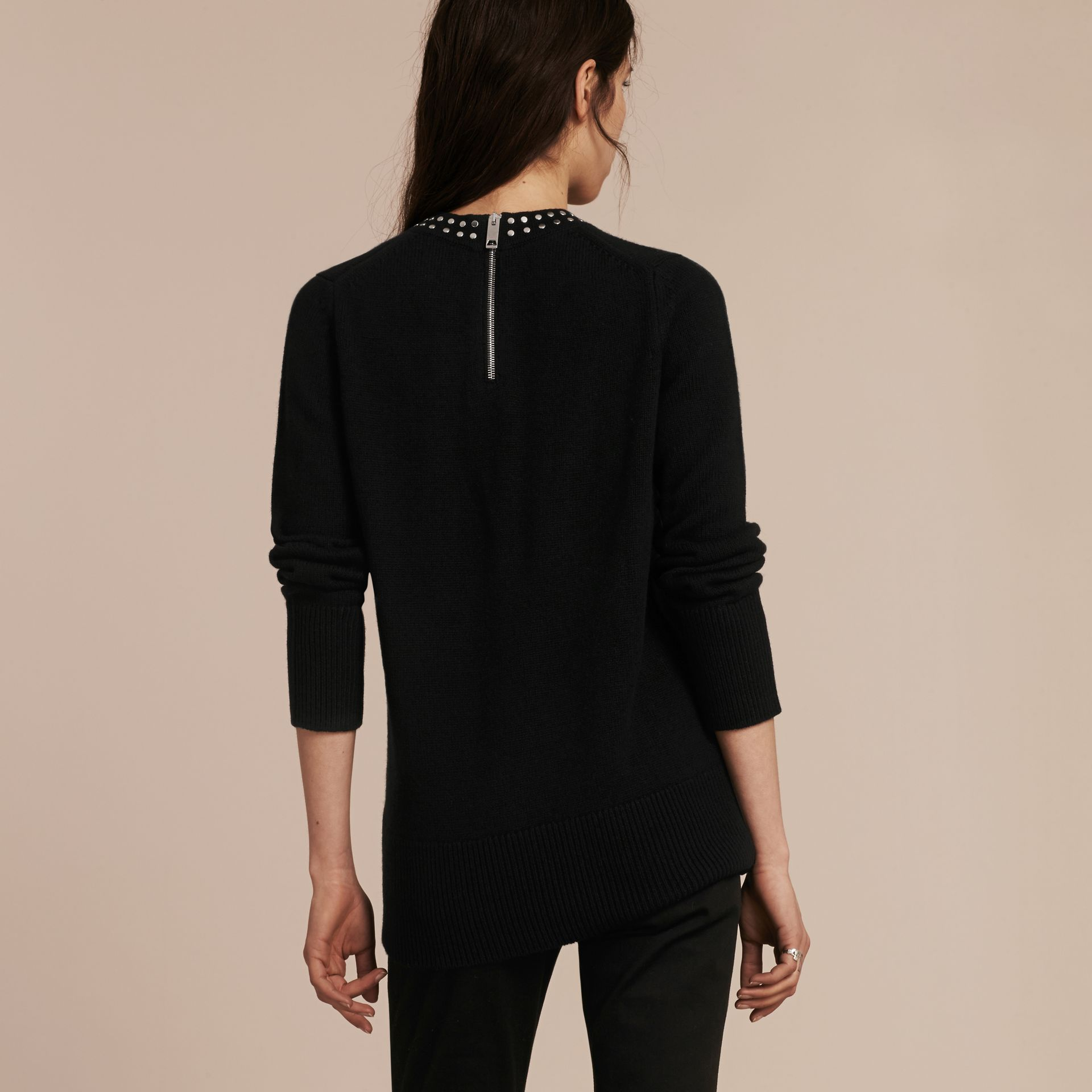 Black Studded Cashmere Cotton Sweater - gallery image 3