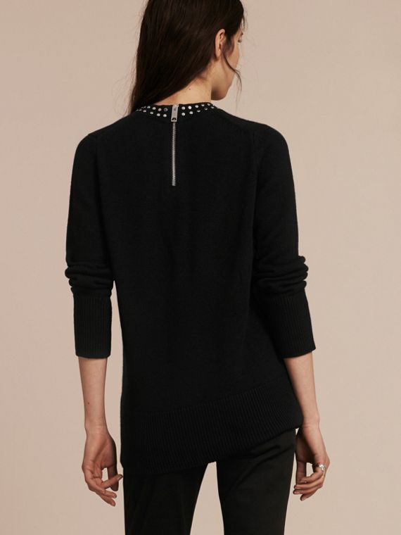 Black Studded Cashmere Cotton Sweater - cell image 2