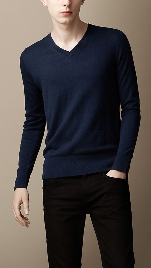 Navy Check Detail Cotton Cashmere Sweater - Image 1