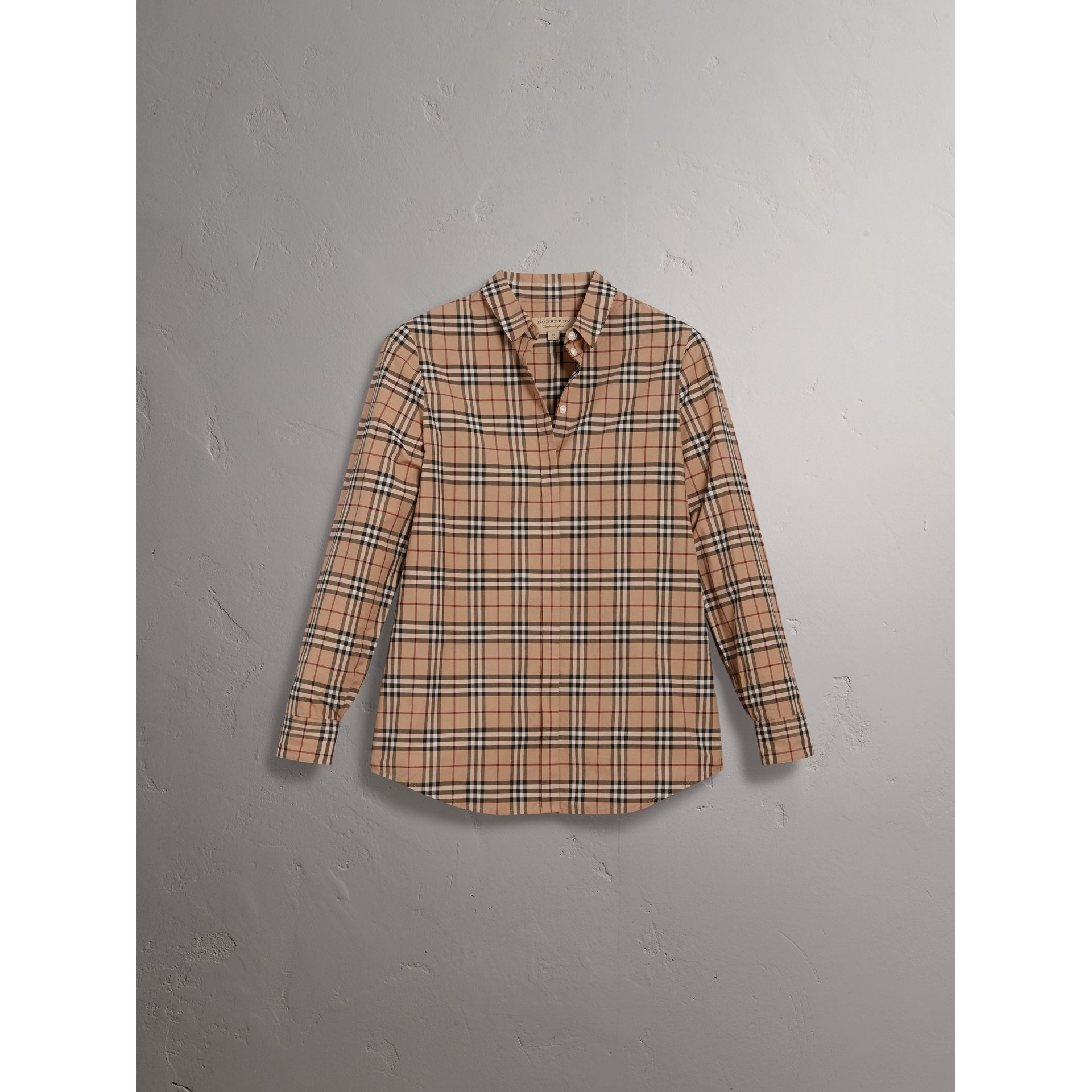 Check Cotton Shirt in Camel - Women | Burberry United Kingdom - gallery image 3