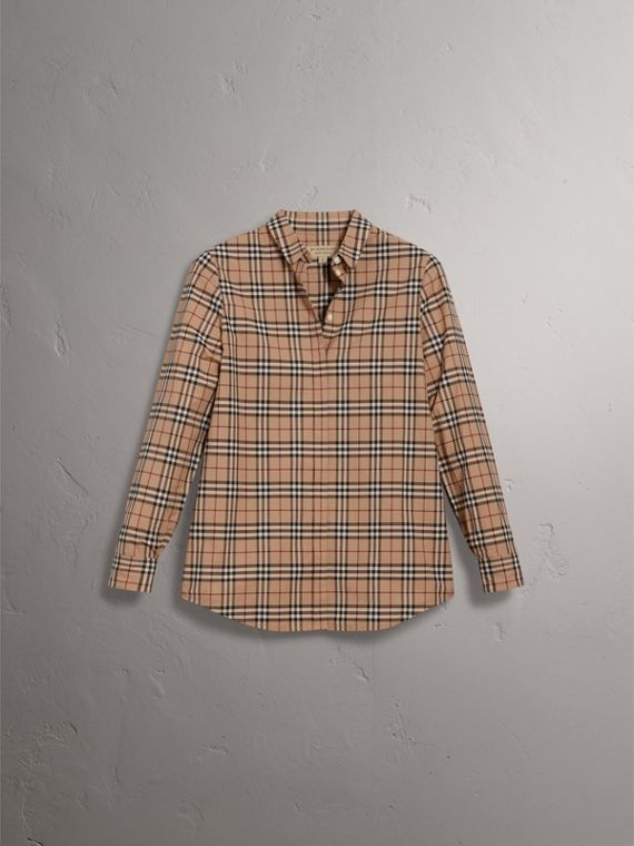 Check Cotton Shirt in Camel - Women | Burberry Canada - cell image 3
