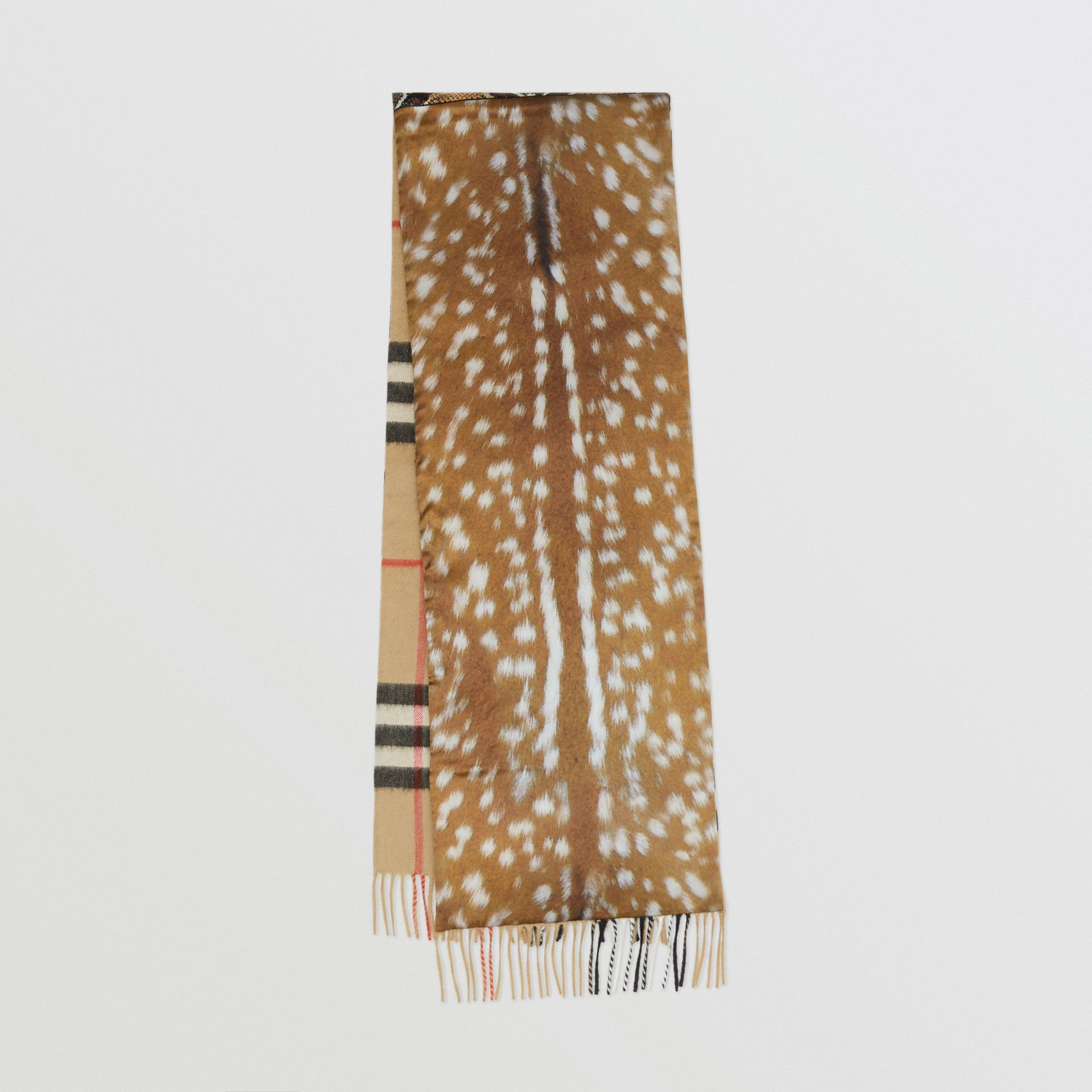 Check and Animal Print Cashmere Silk Puffer Scarf in Honey | Burberry Australia - gallery image 0