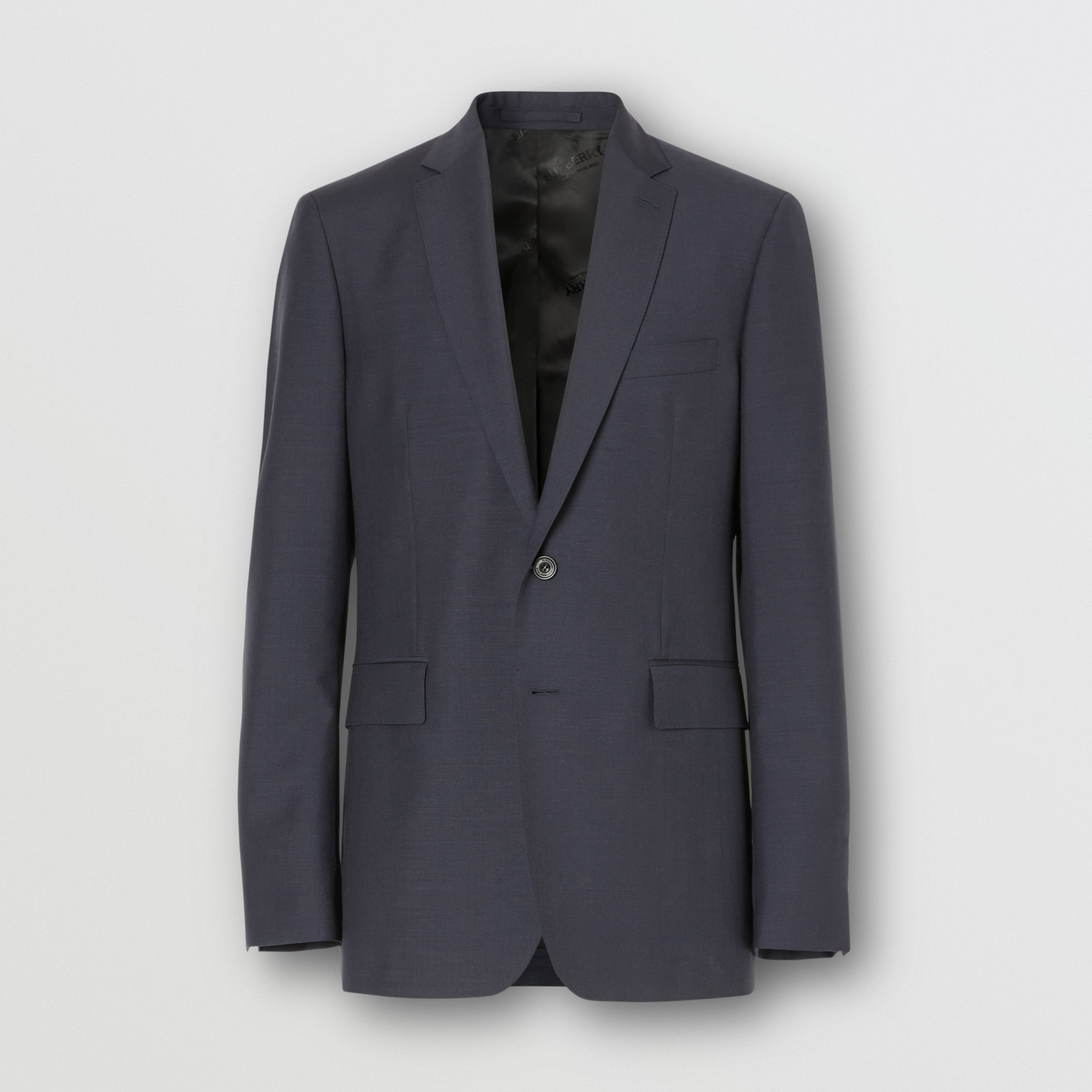 Slim Fit Wool Mohair Suit in Navy - Men | Burberry - 4