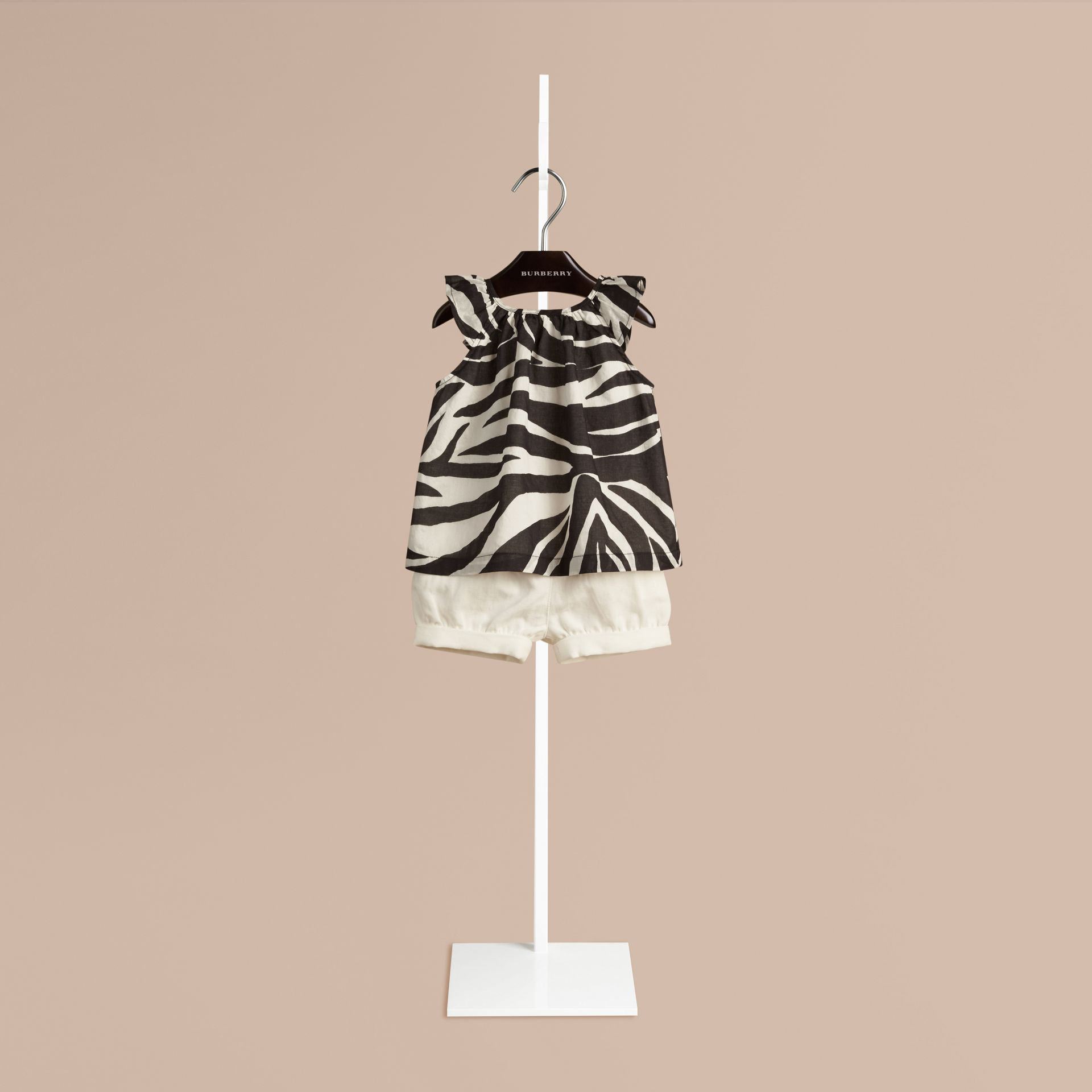 Black/white Zebra Print A-line Cotton Top - gallery image 1